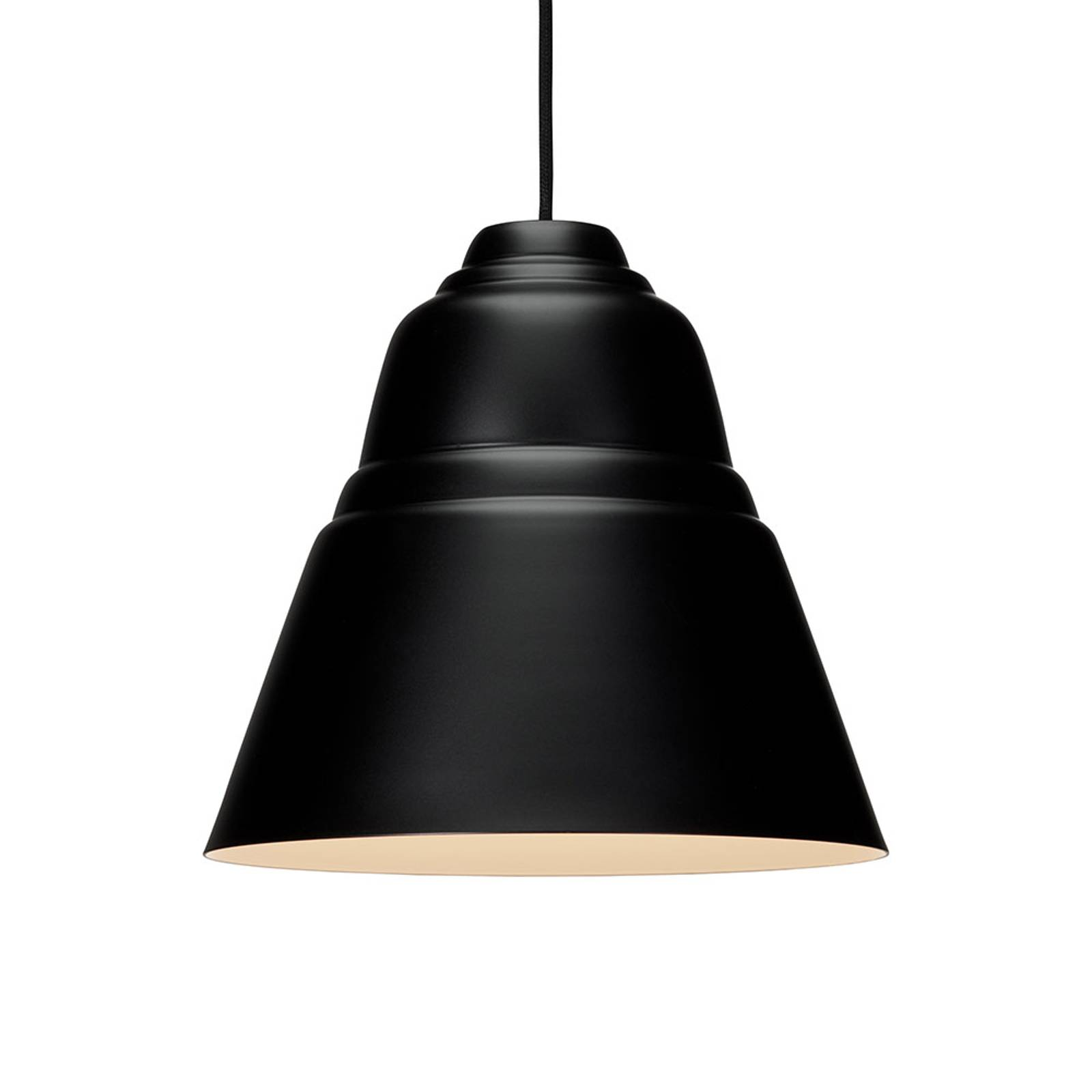 Lampa wisząca Relief z metalowym kloszem, czarna