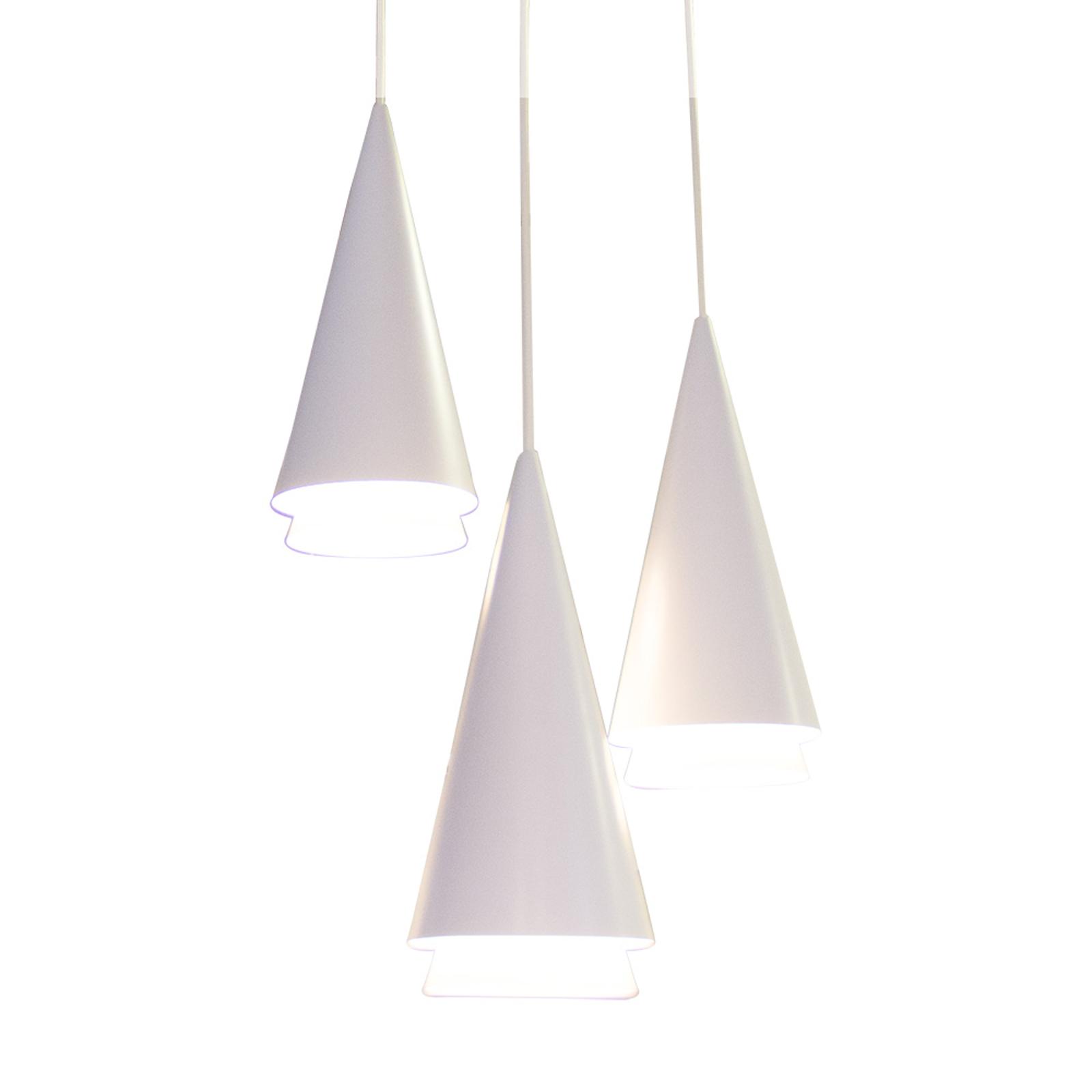 Lucande Naoh hængelampe rondell, 3lk, hvid