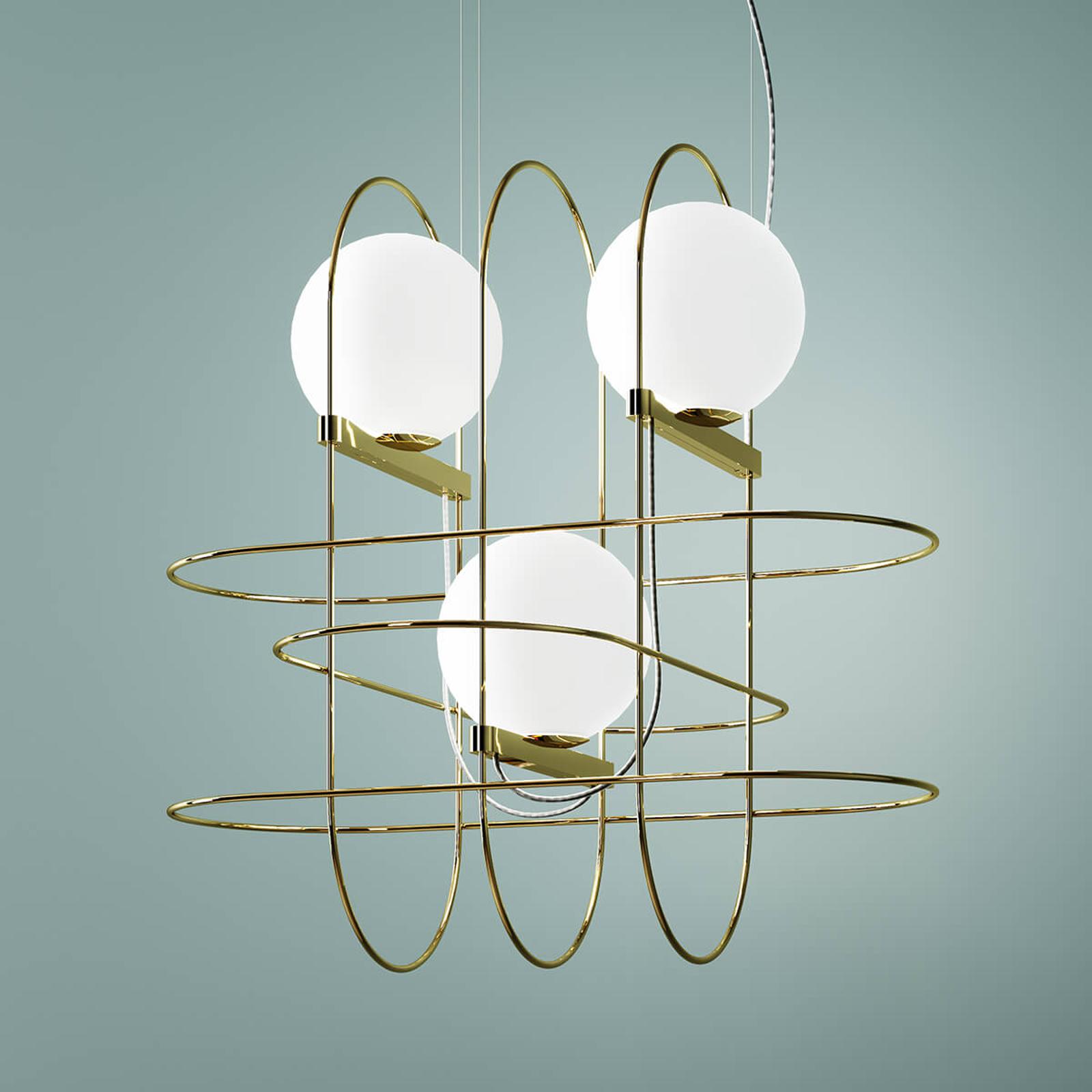 Suspension de designer Setareh avec LED, dorée