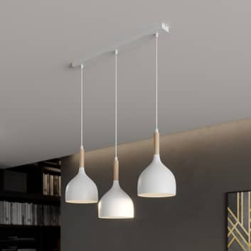 Colgante Noak 3 luces lineal blanco/madera natural