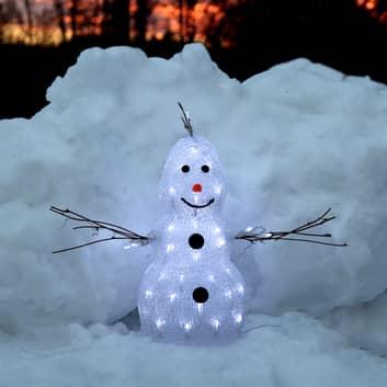 Liten LED-figur Crystal Snowman utendørs
