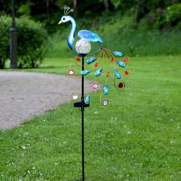 LED-solcelle-dekobelysning Peacock, påfuglfigur