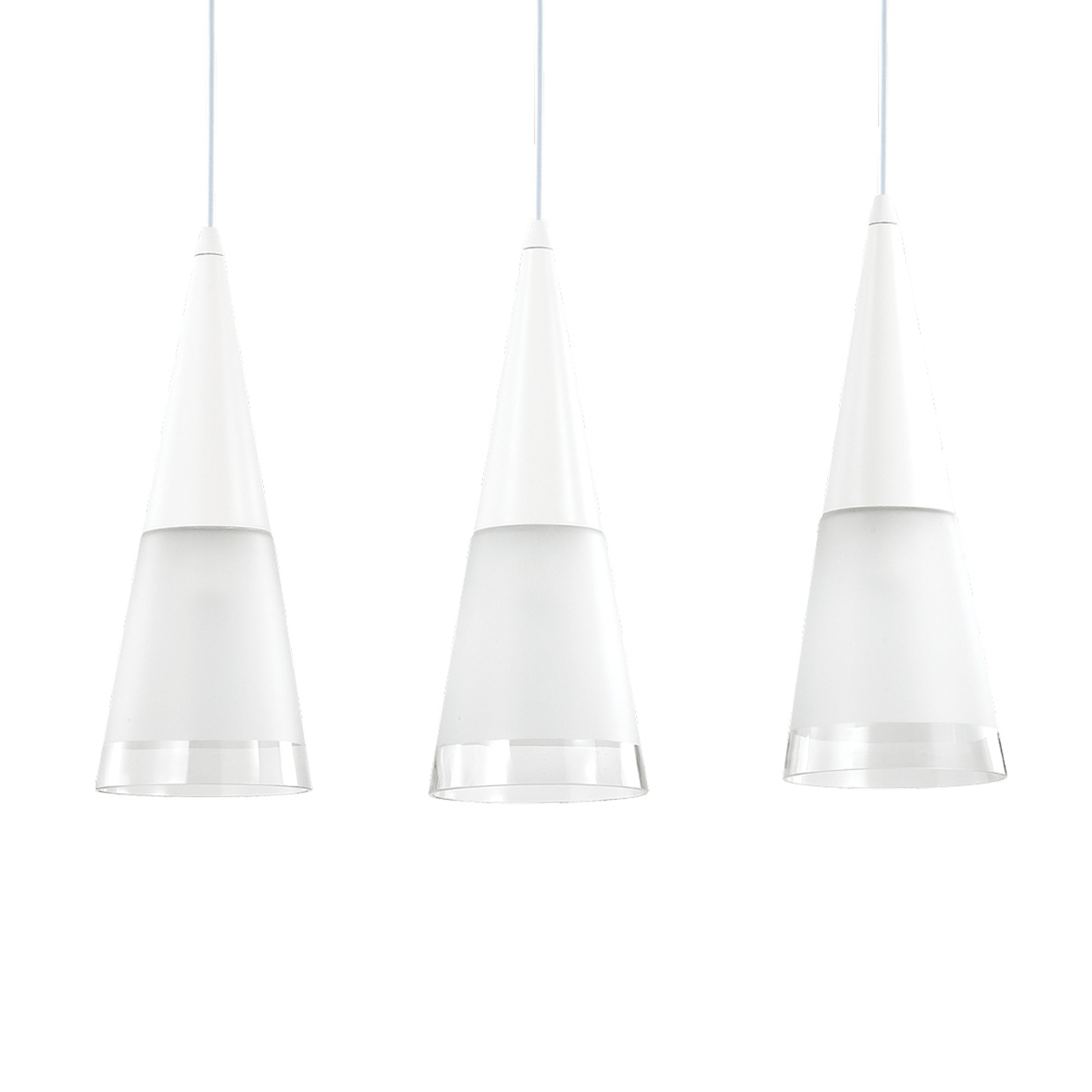 Hanglamp Cono 3-lamps wit/transparant