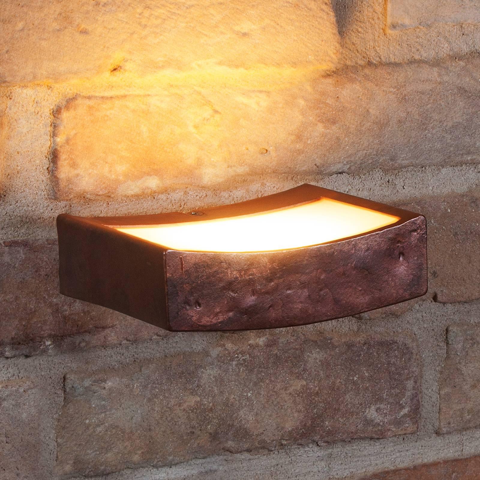 LED wandlamp Dolce in roestoptiek, breedte 13 cm