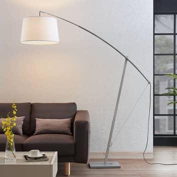 Lámpara de pie arco Nevika pantalla blanca textil