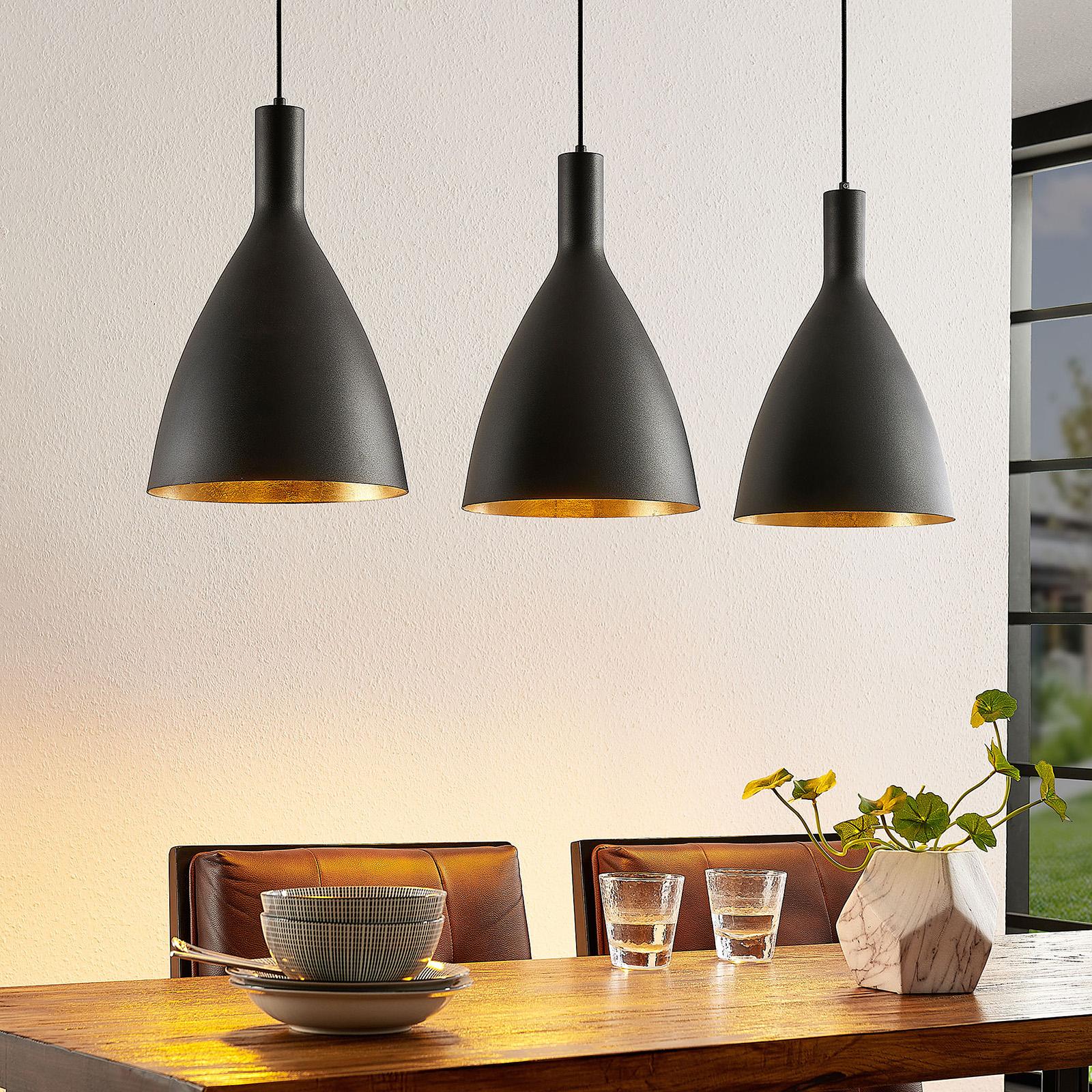 Arcchio Arthuria hanglamp, 3-lamps lang zwart