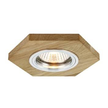 Sirion LED-indbygningsspot, sekskantet, olieret eg