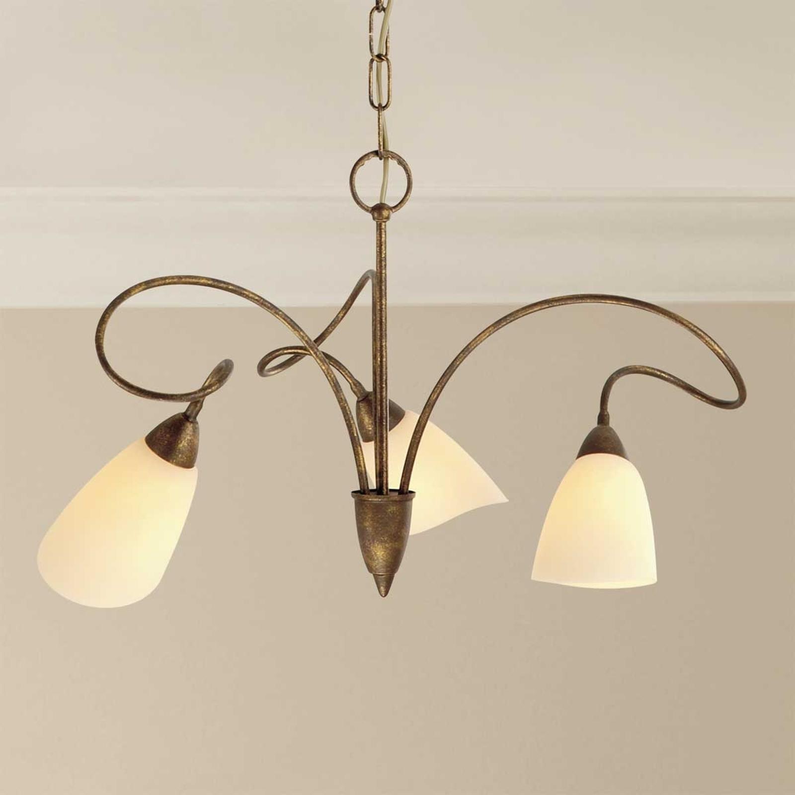 Suspension rustique Alessandro à 3 lampes