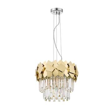 Lucande Miraia kryształowa lampa wisząca, złota
