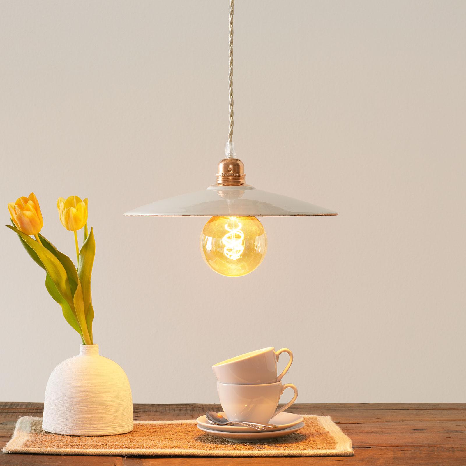 Keramiek-hanglamp S1836, wit/koper