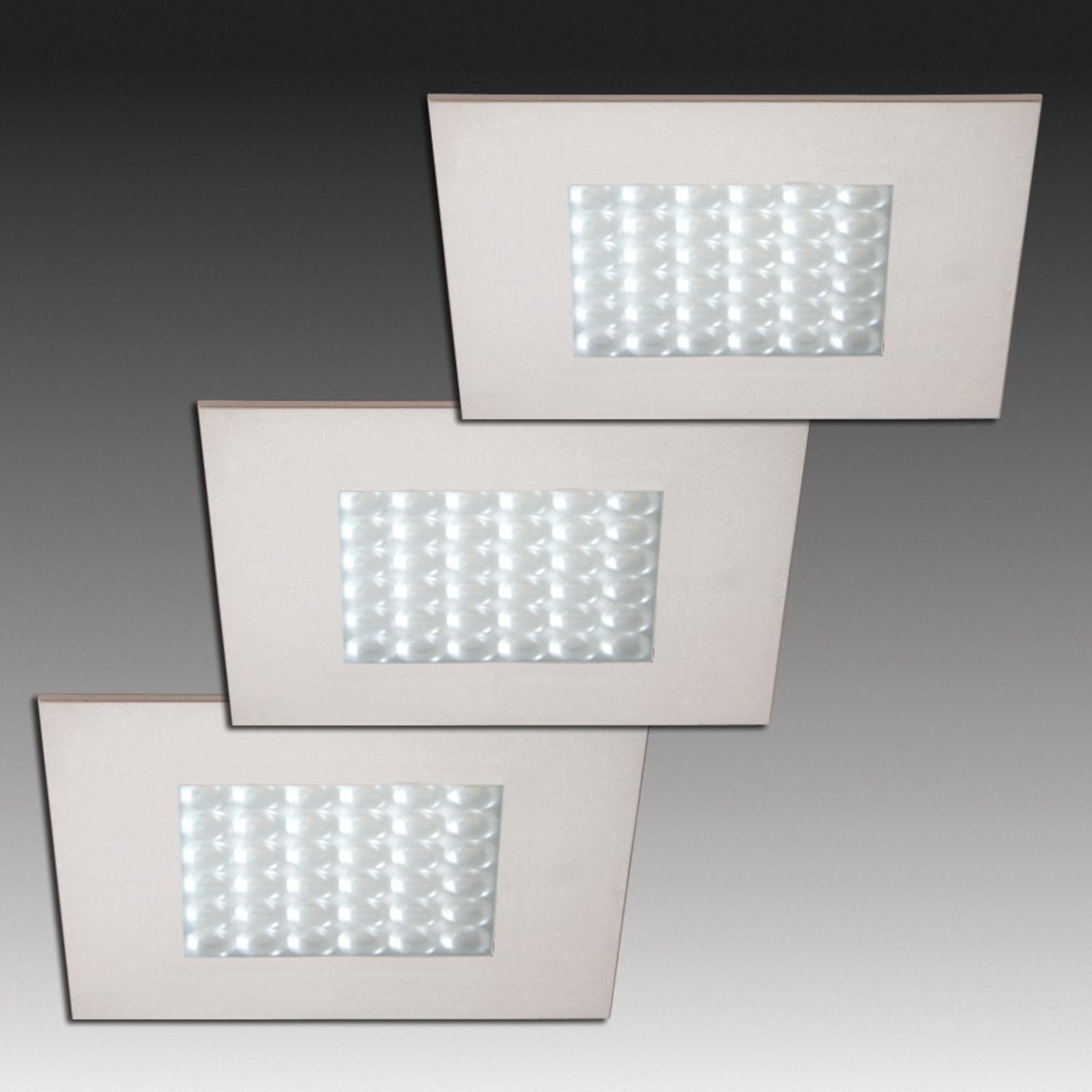 Q 68-LED indbygningsspot i stållook, 3 stk.