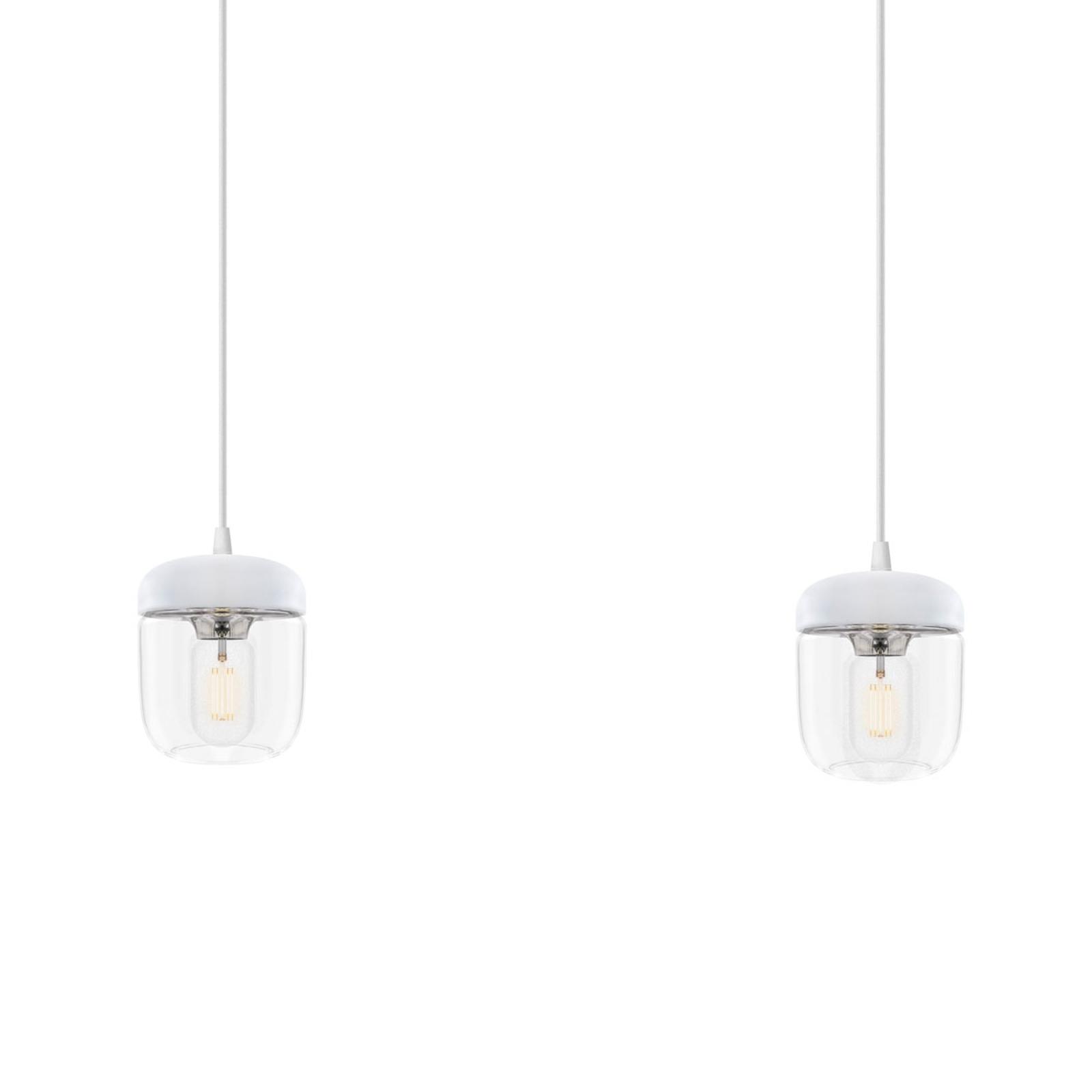 UMAGE Acorn hængelampe, hvid/stål, 2 lyskilder