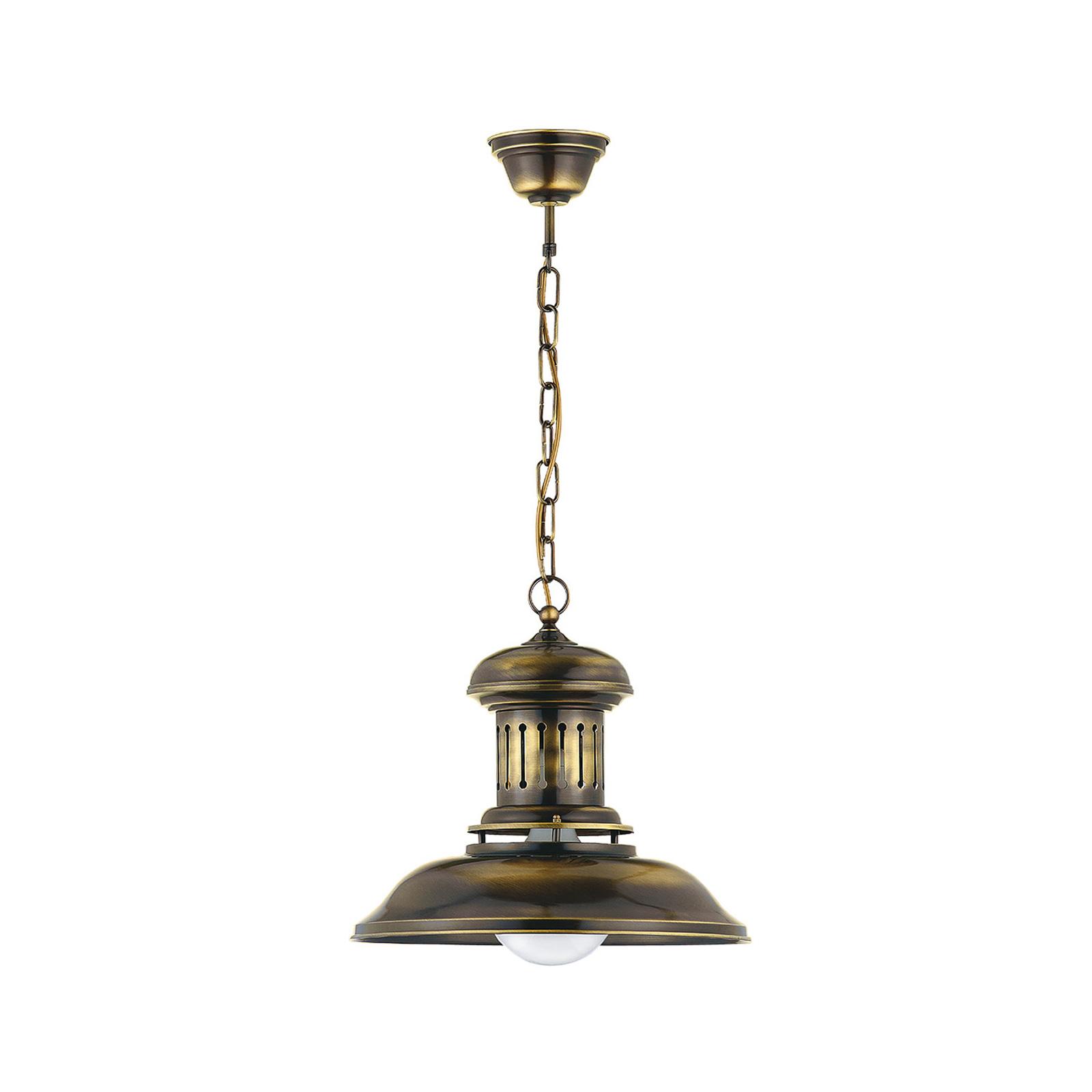 Hengelampe Bell, 1 lyskilde, messing antikk