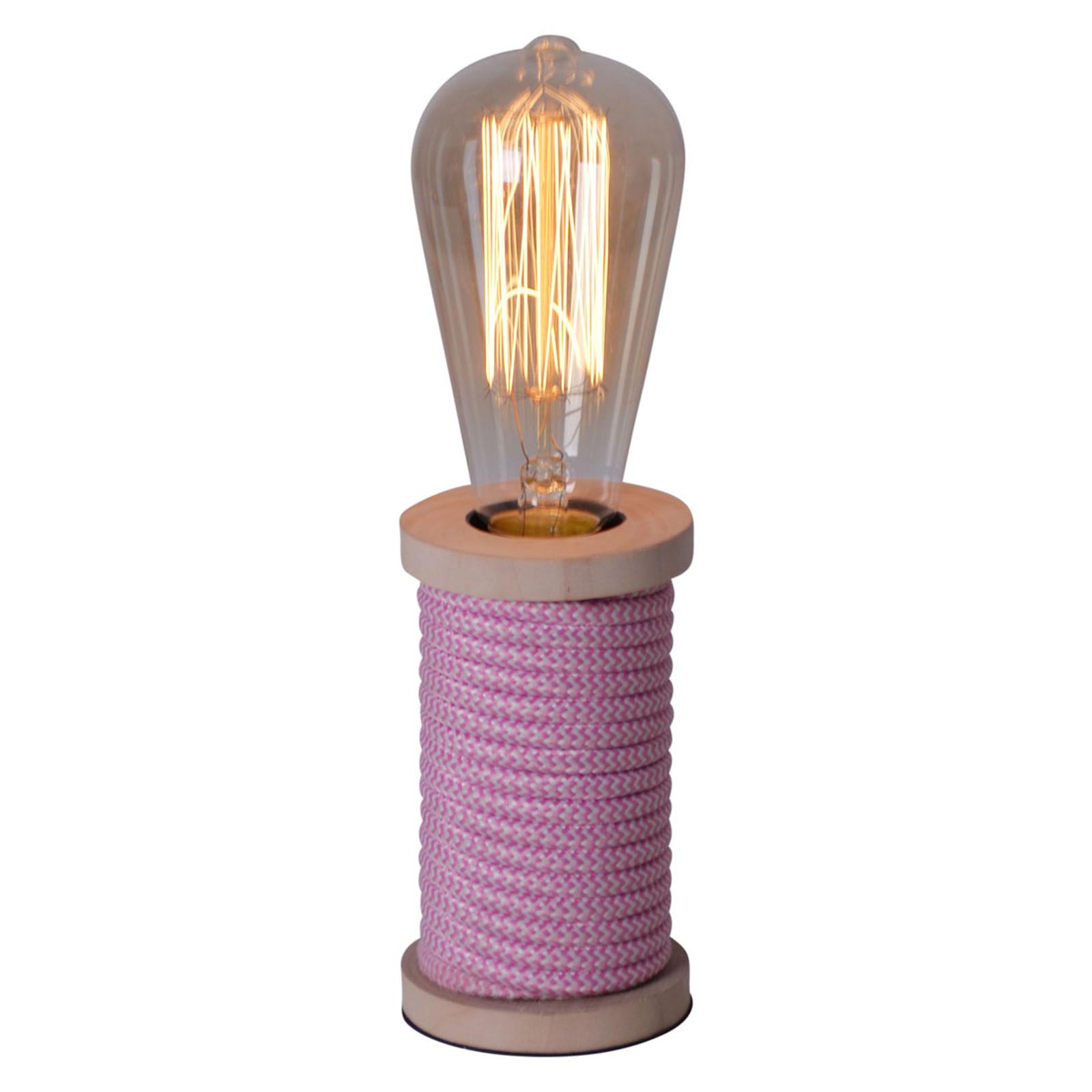 Tafellamp Max met houten voet roze