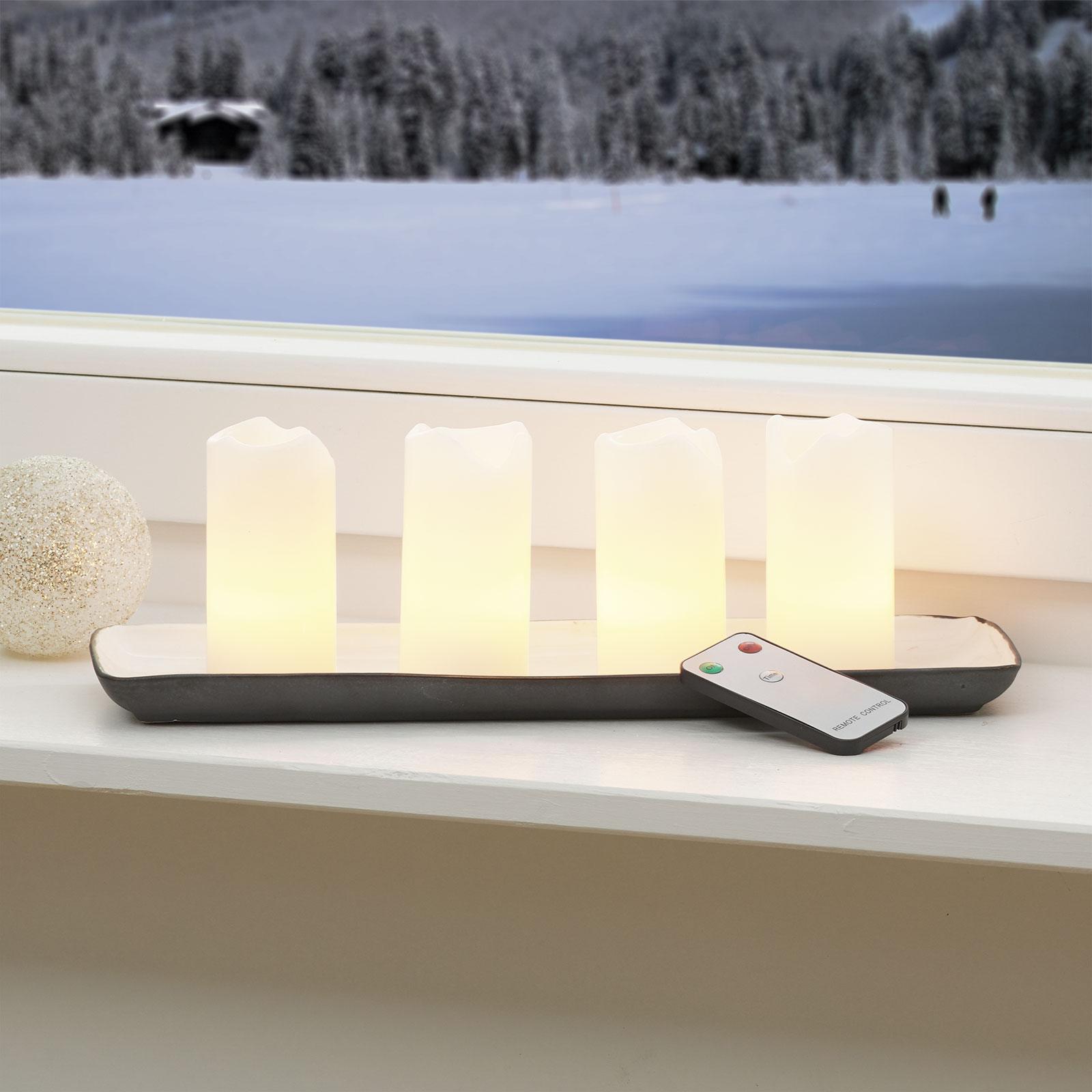 LED lys Candle med fjernbetjening, 4'er sæt