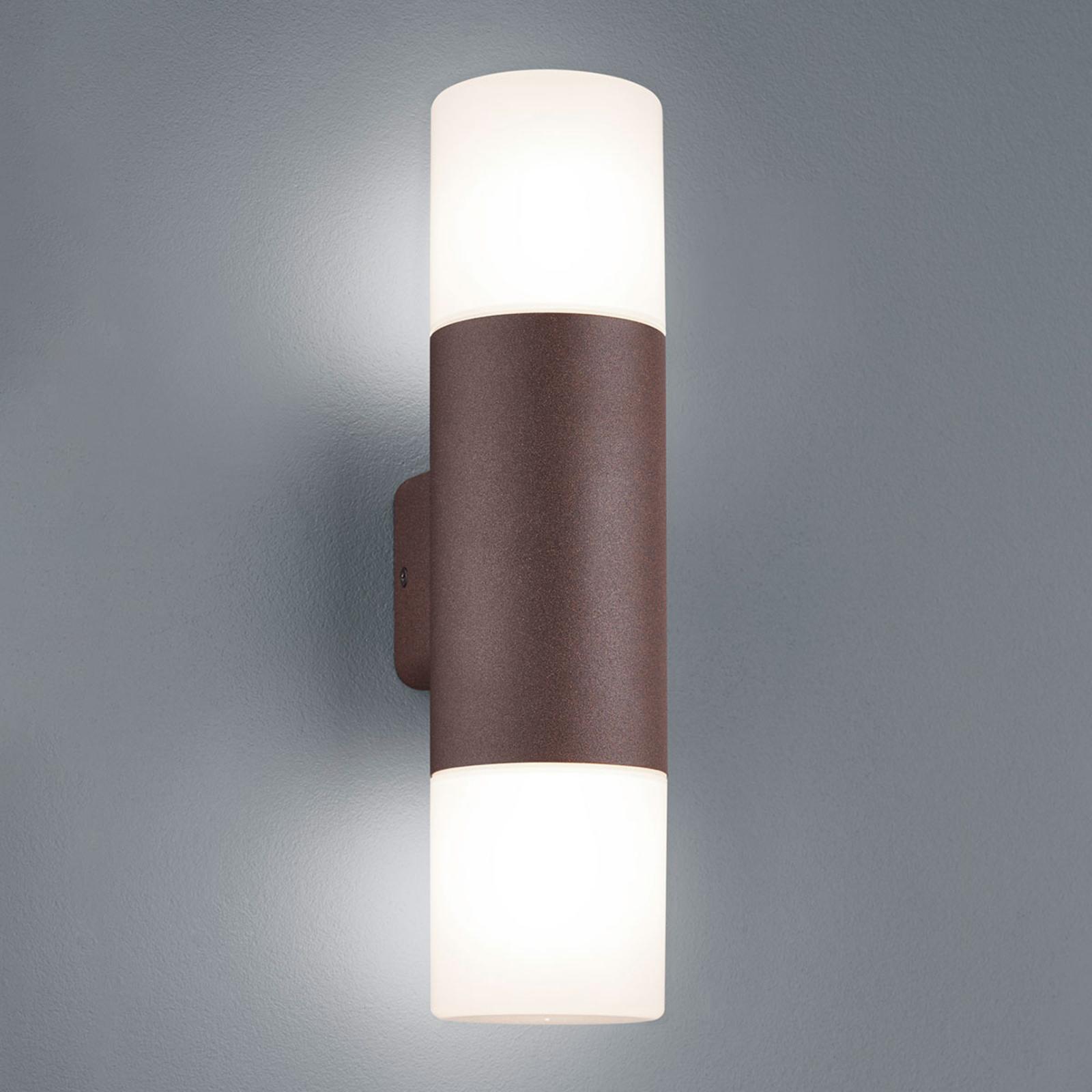 Hoosic udendørs væglampe, 2 lyskilder, rustfarvet