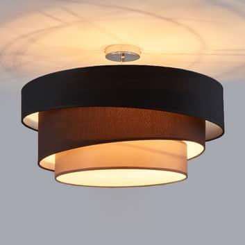 Sugerente lámpara de techo Melia, negro y marrón
