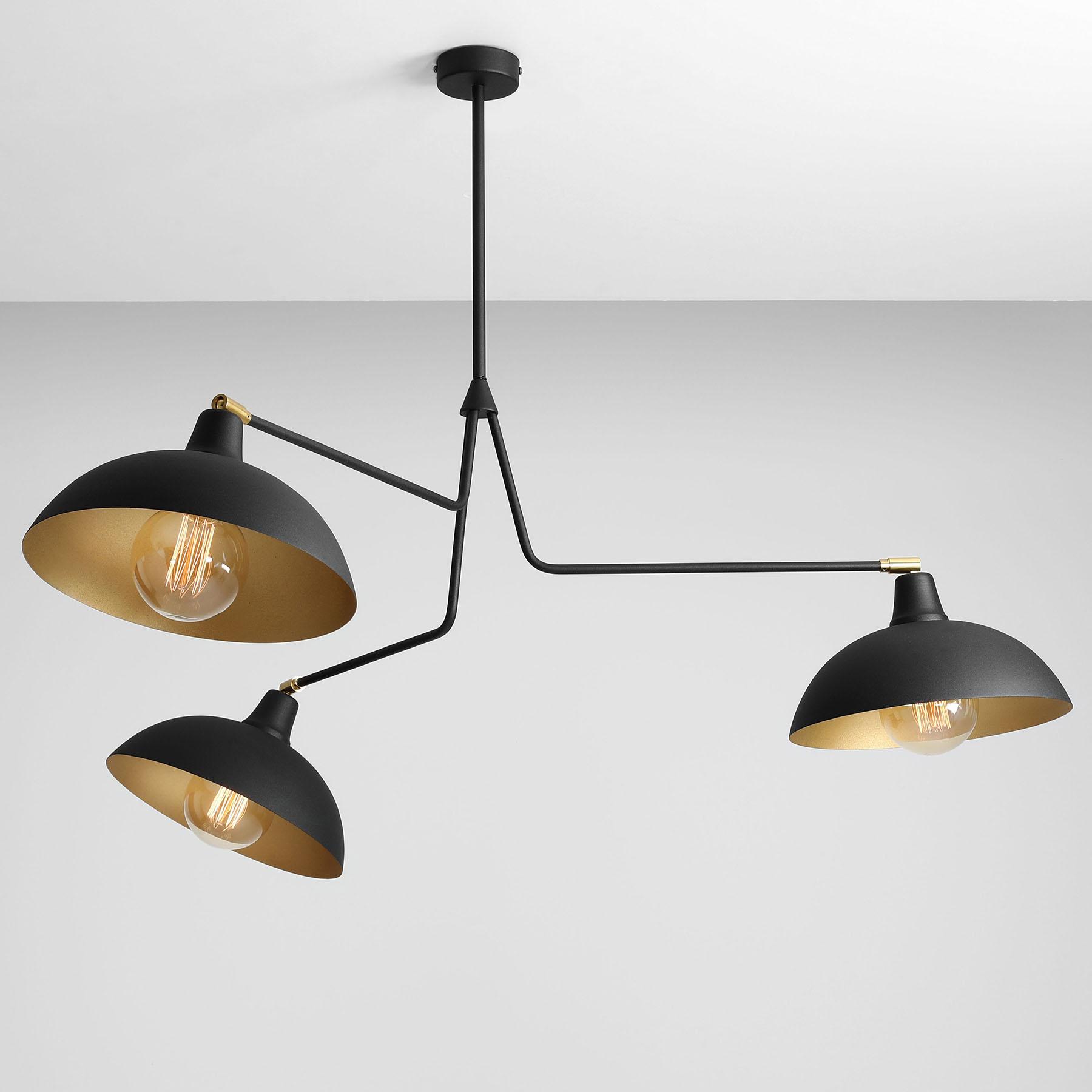 Hanglamp 1036, 3-lamps, zwart-goud