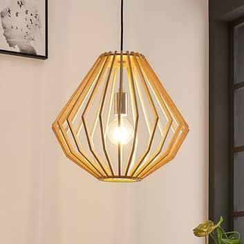 Závěsné světlo Sigge, stínidlo z dřevěných lamel