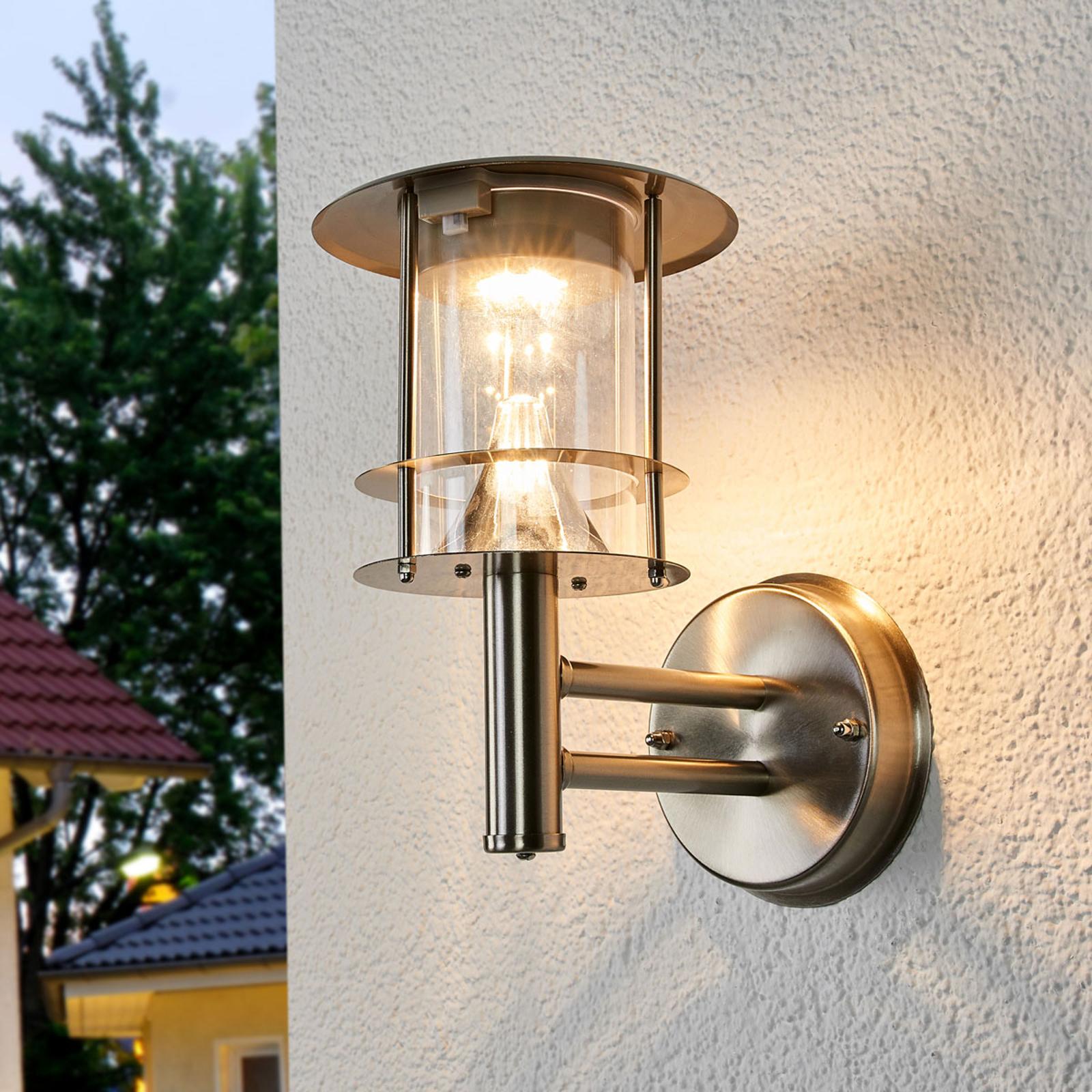 Roestvrijstalen solar buitenwandlamp Sumaya, LED