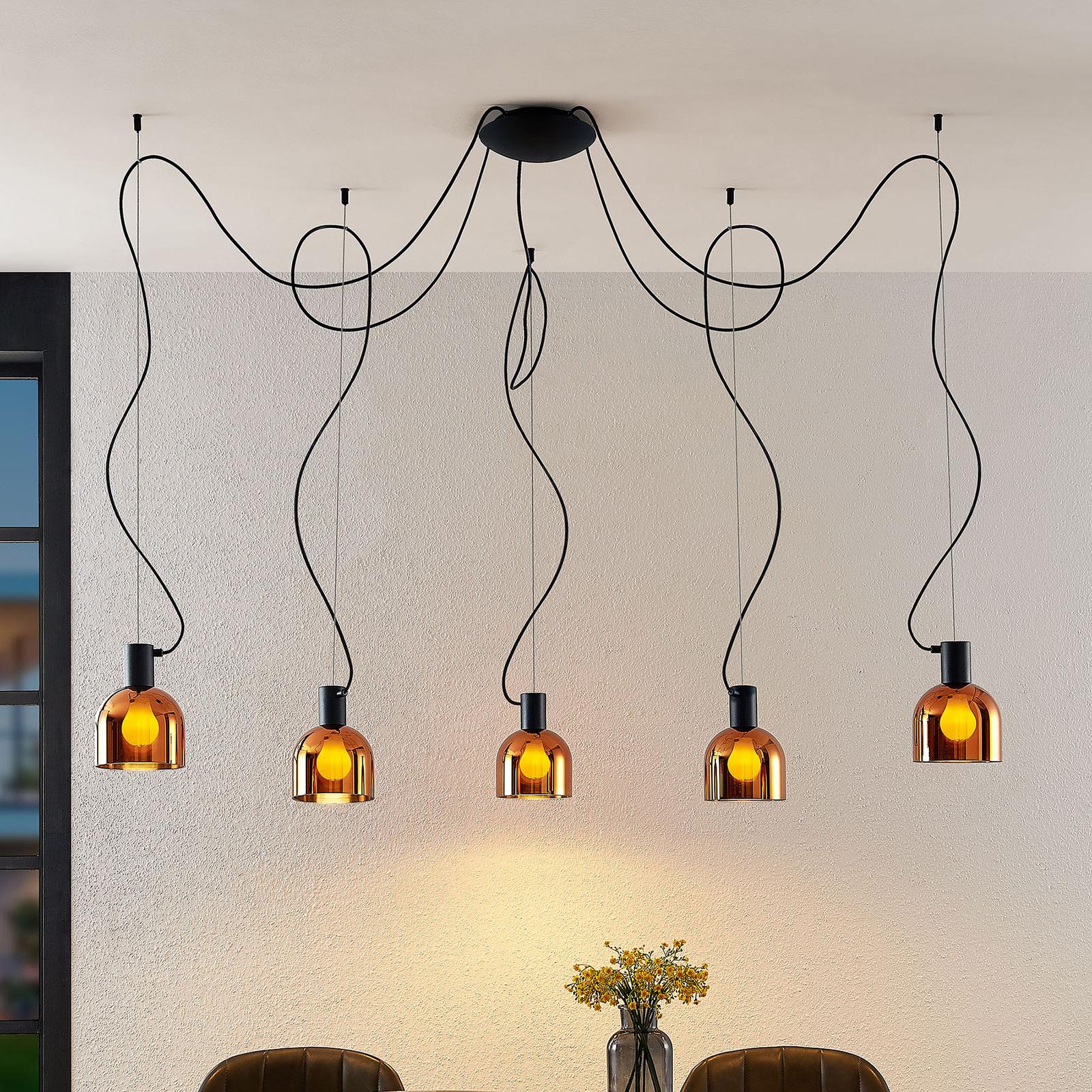 Lucande Serina hængelampe, 5 lyskilder, kobberglas