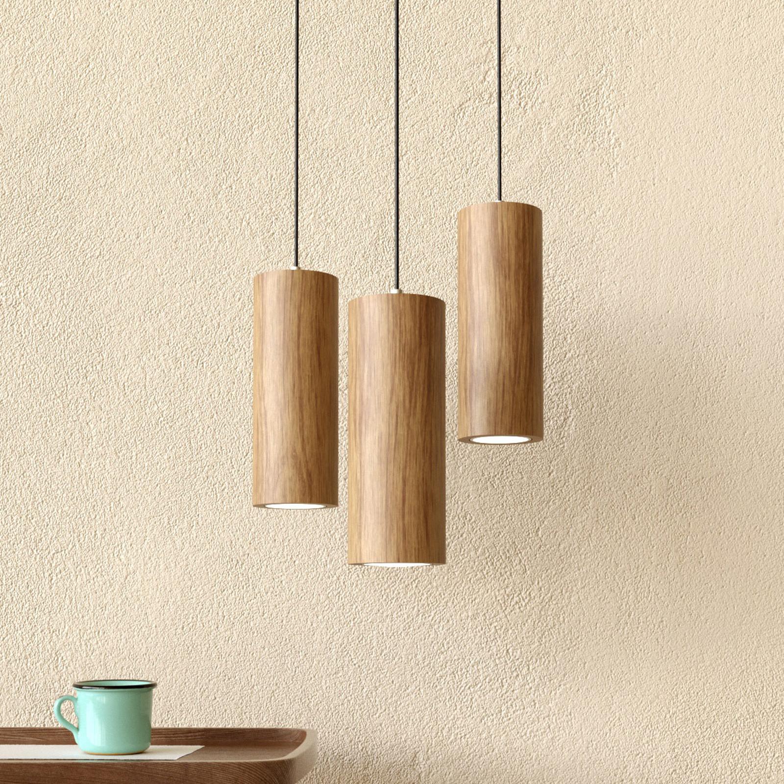 3-pkt. lampa wisząca LED Pipe z drewna dębowego