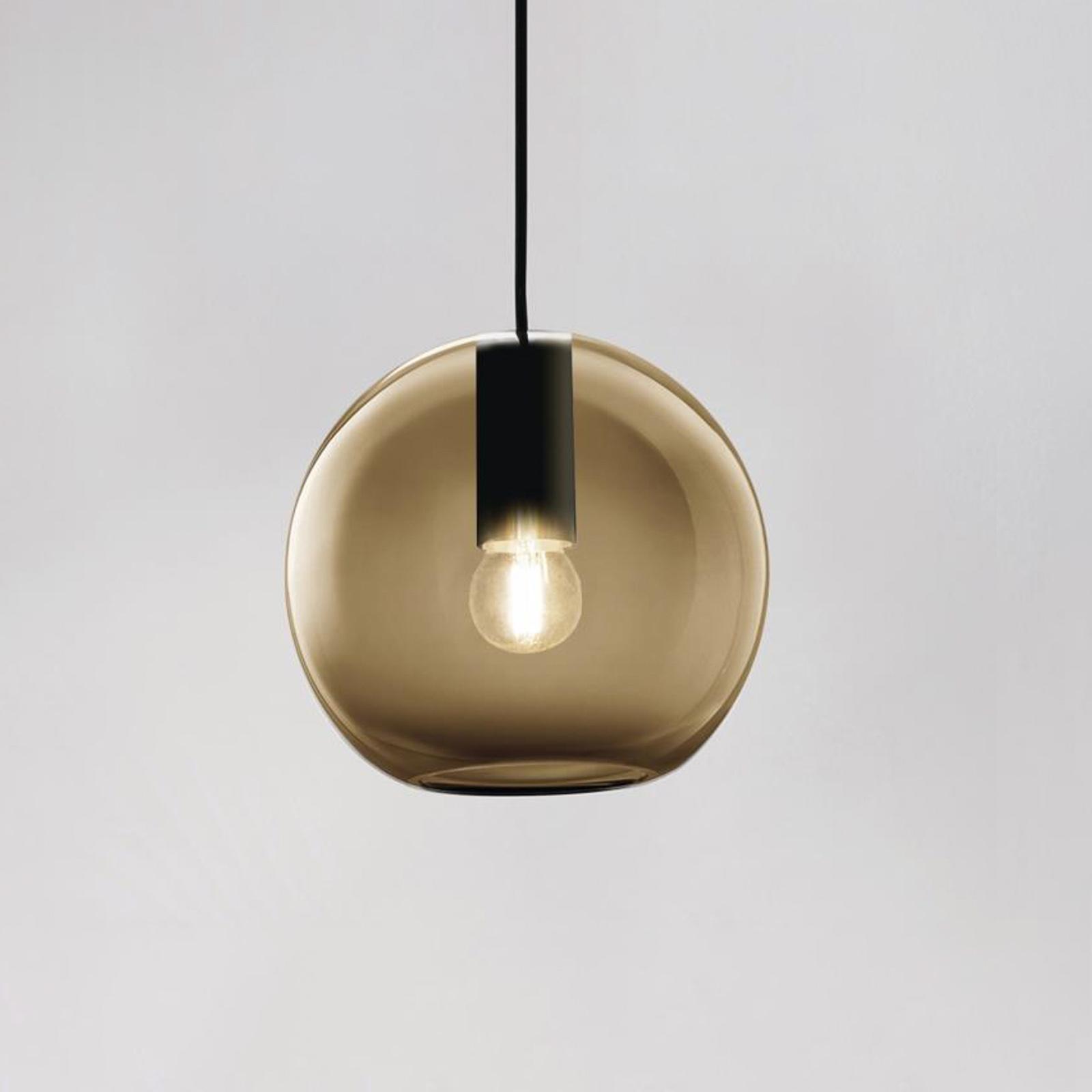 LOUM Loon Mini hængelampe, brunt glas, sort