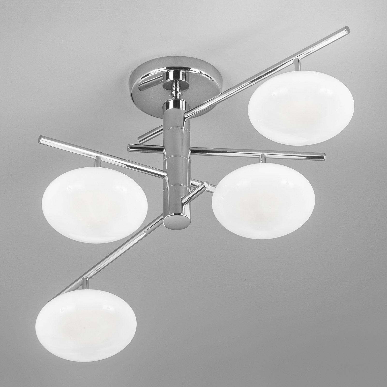 Taklampe Dolce 4 lyskilder, krom/hvite skjerm