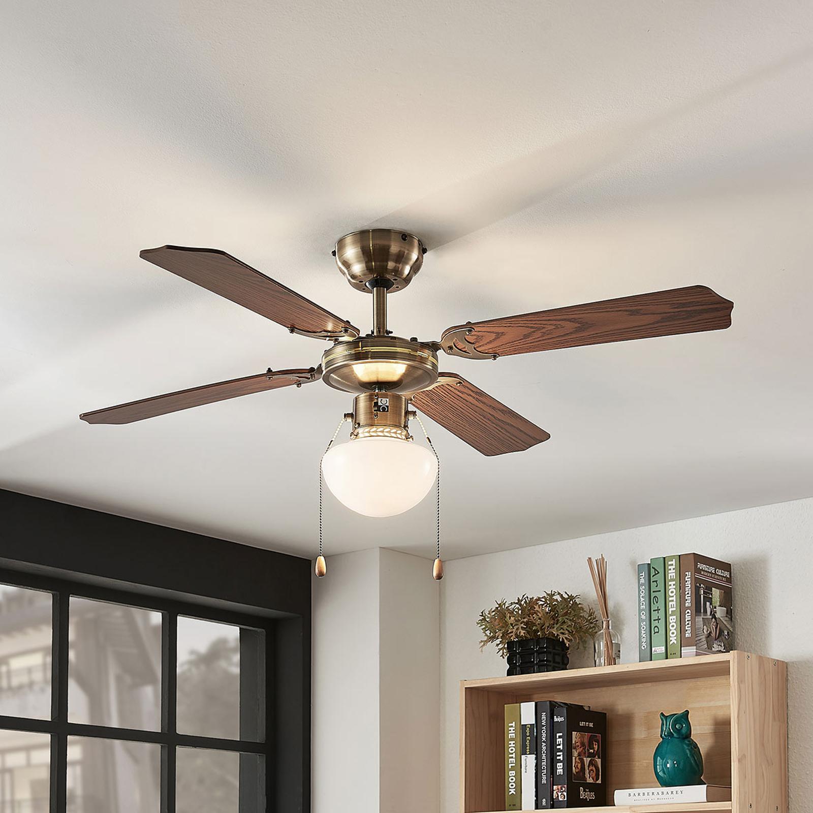 Ventilateur de plafond Joulin, éclairé, chêne