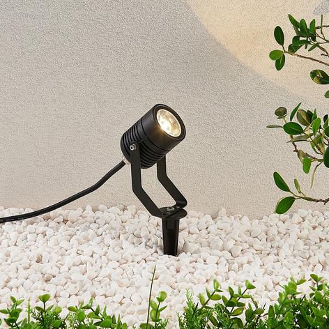 Zwarte LED buitenspot Maris met grondspies