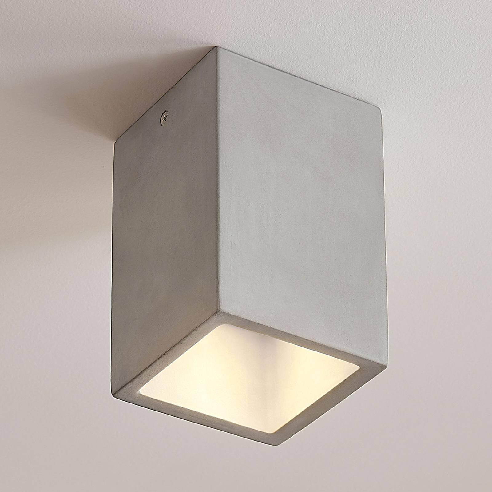 Concrete Ceiling Light Gerda With An Angular Shape Lights Co Uk