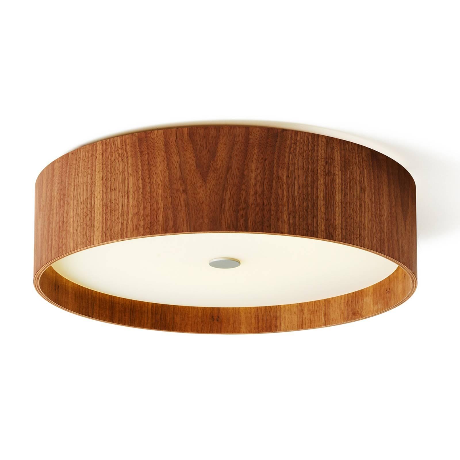 Notenhouten plafondlamp Lara wood met LED, 43 cm