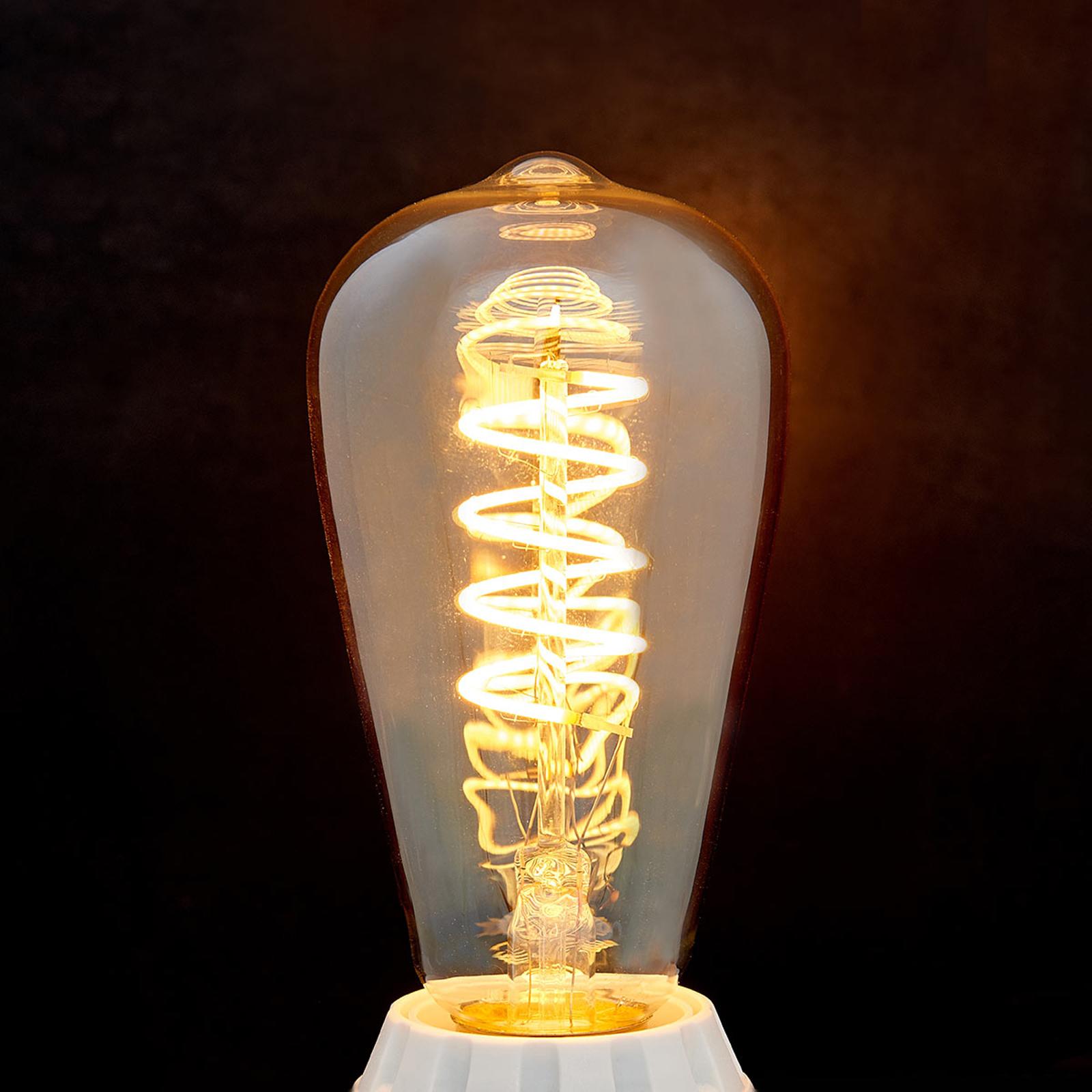 E27 LED-Rustika Curved Line 4W, 2.200K, amber