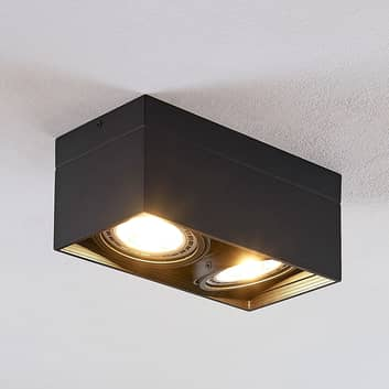 LED plafondspot Michonne, zwart, twee lampjes