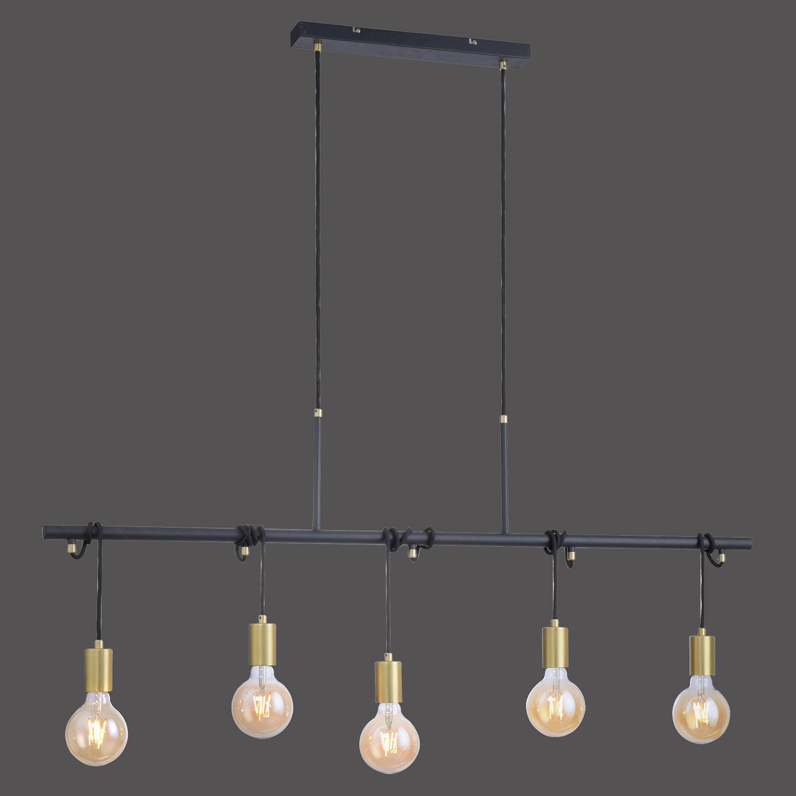 Hanglamp Tamara, 5-lamps, messing/zwart