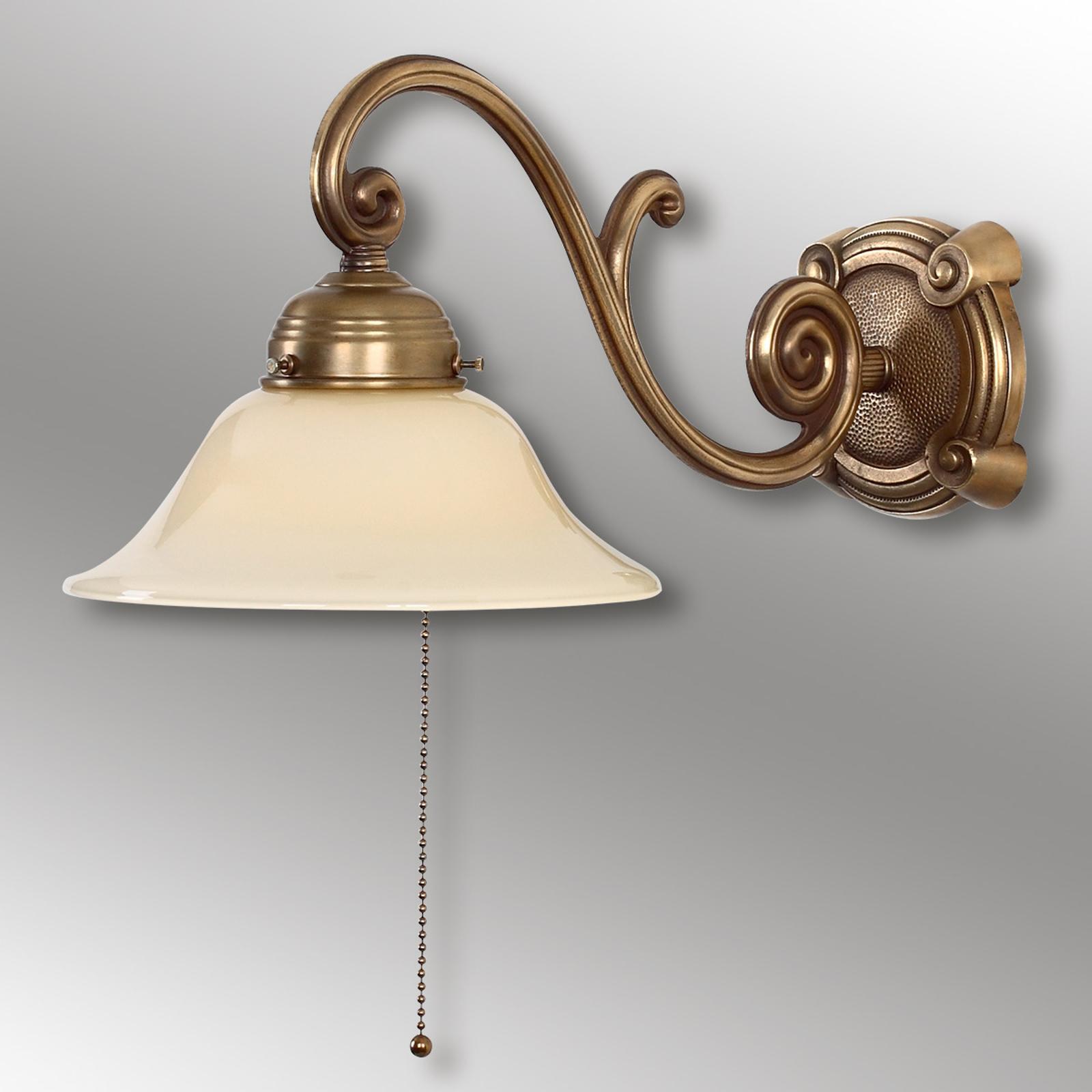 Starožitné nástěnné světlo Ella z mosazi
