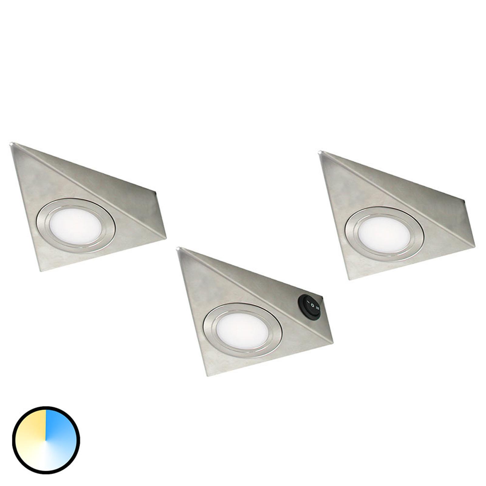 CS LED-underskabsbelysning, trekantet, sæt med 3