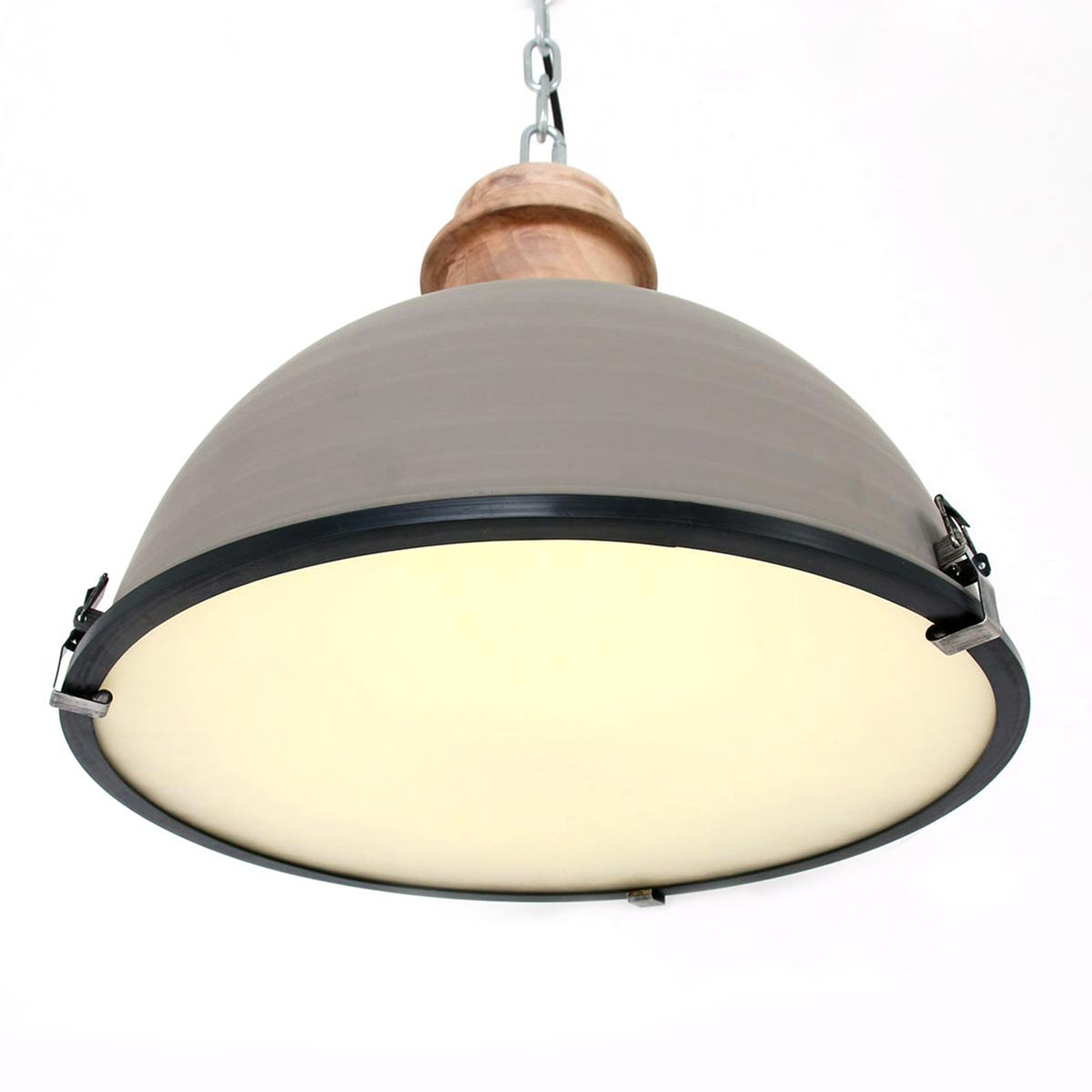 Szara lampa wisząca Bikkel, metalowy klosz