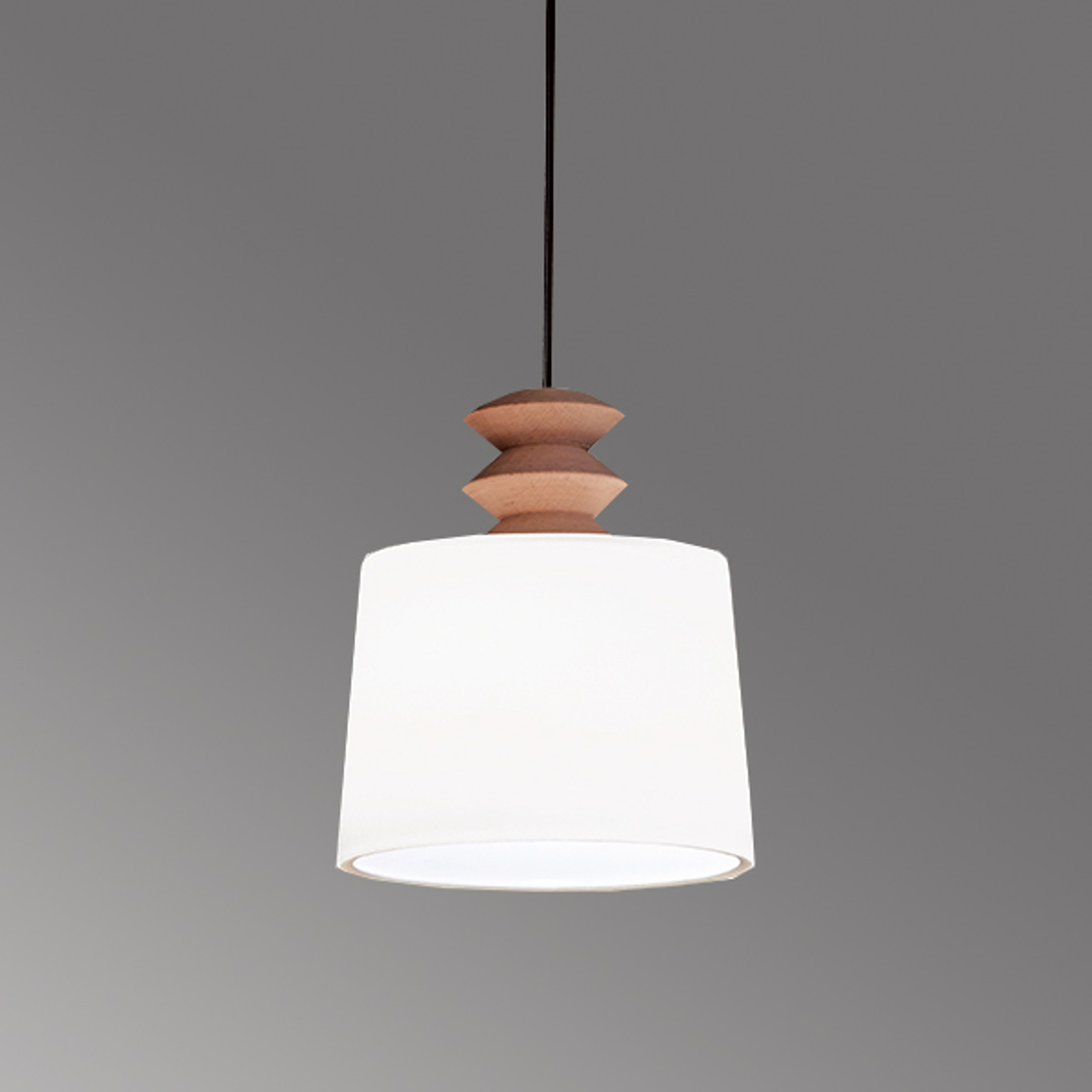 Lampa wisząca Eduardo ze szkła, drewniany element