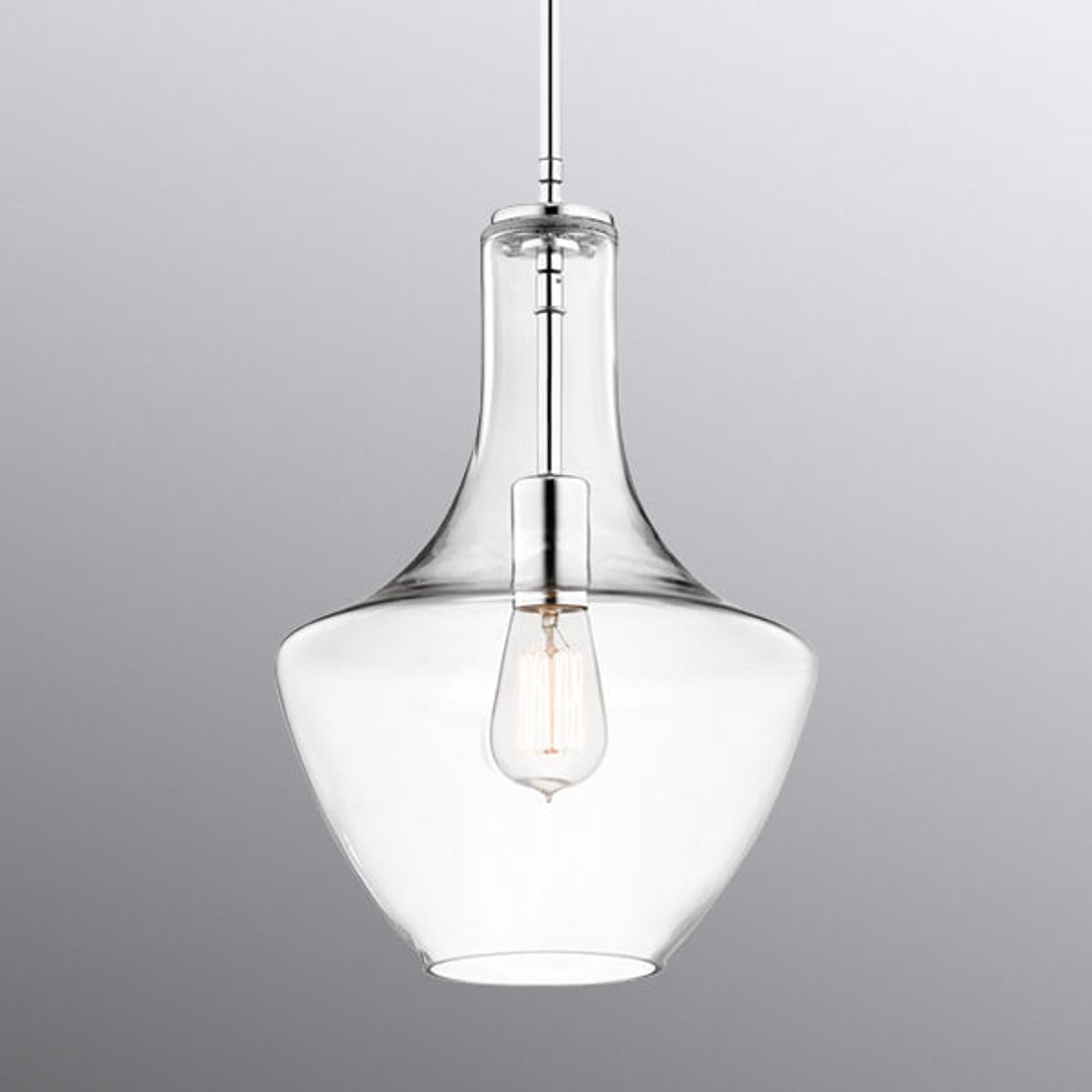 Mała lampa wisząca Everly, szkło, oprawa chrom