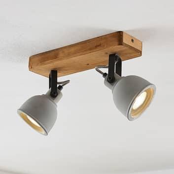 Lindby Mirka LED-loftlampe, fyrretræ, 2 lyskilder