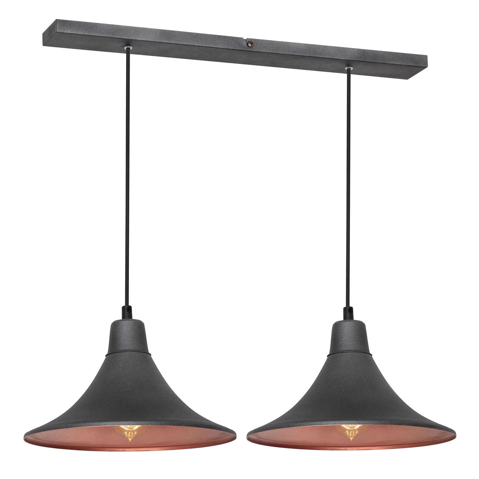 Hængelampe 785, 2 lyskilder, grafit/kobber
