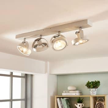 Langwerpige LED plafondlamp Lieven, 4.lamps wit