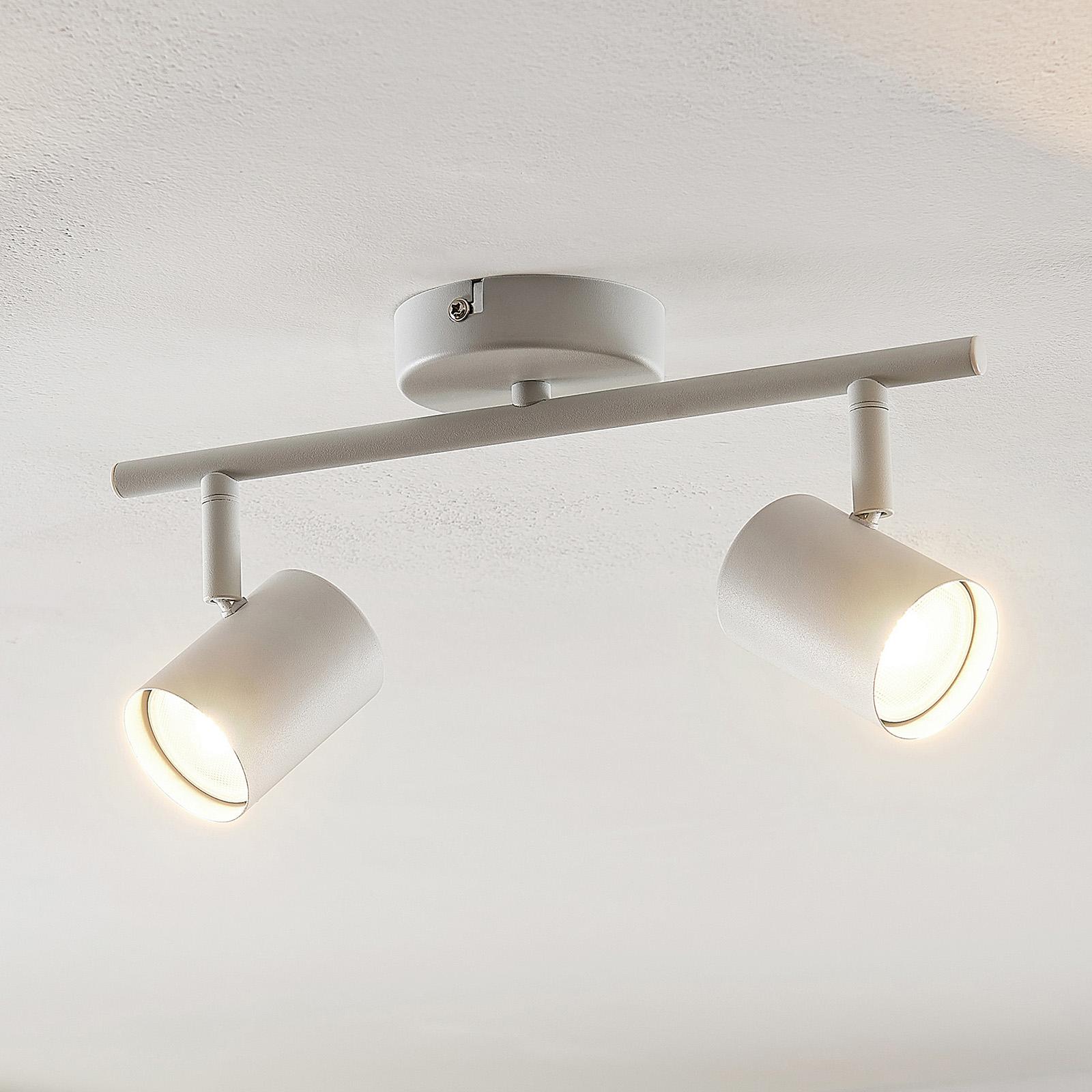 ELC Tomoki LED-taklampa, vit, 2 lampor