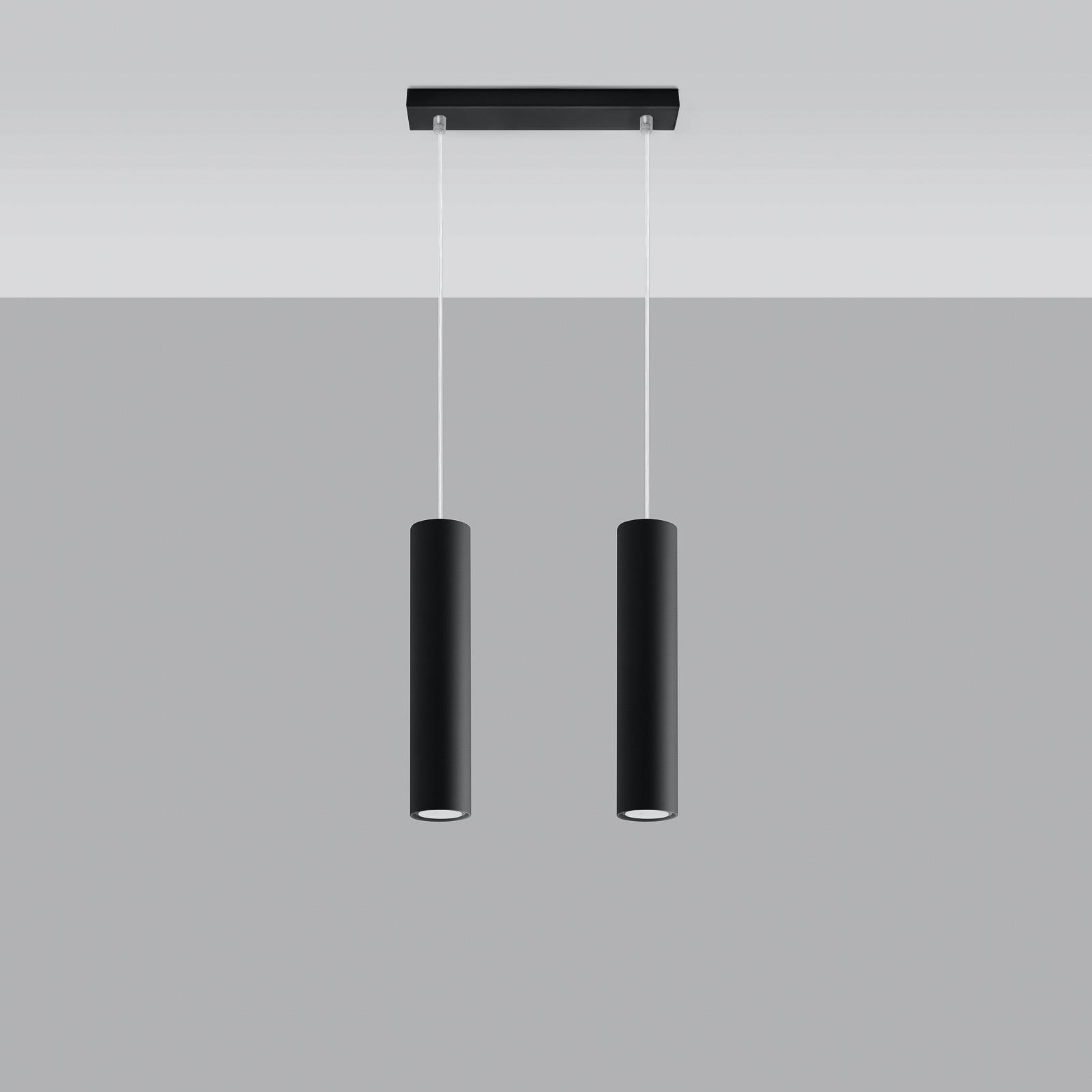 Lampa wisząca Tube, czarna, 2-punktowa