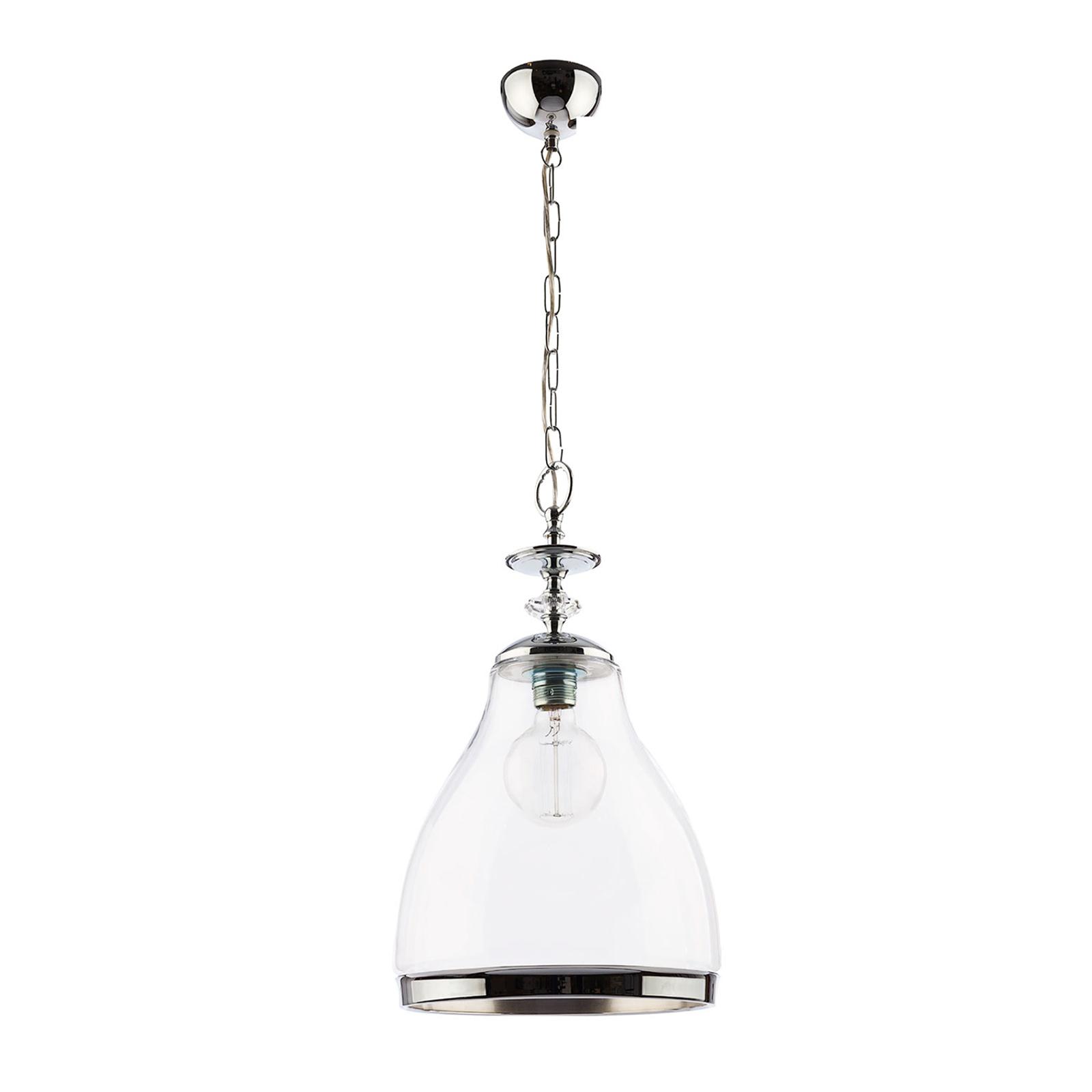Lampa wisząca Hour, chrom, z przezroczystym szkłem