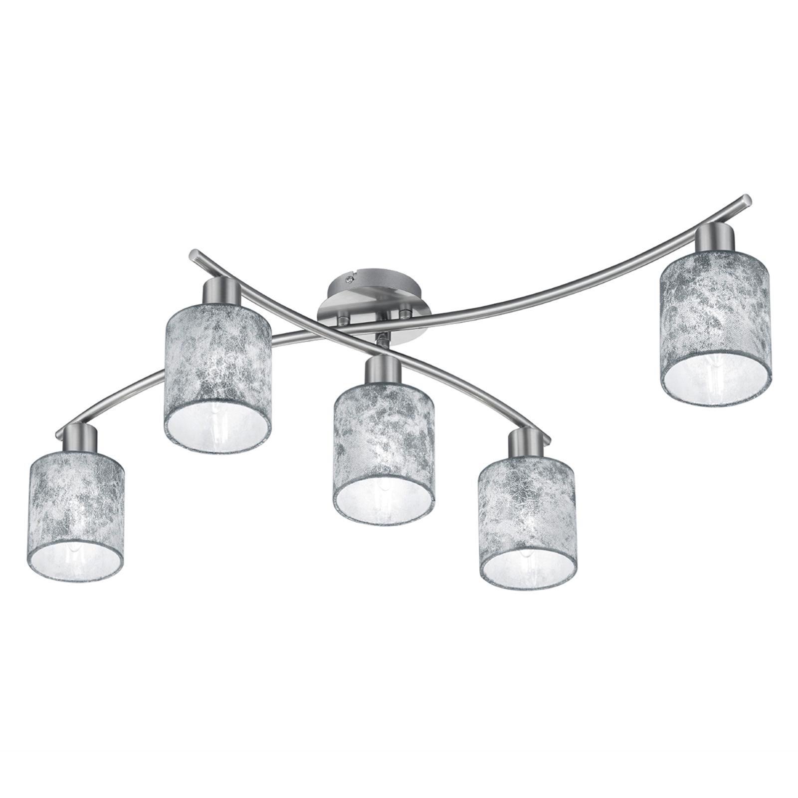 Garda - Vijfflammige plafondlamp, zilveren kappen