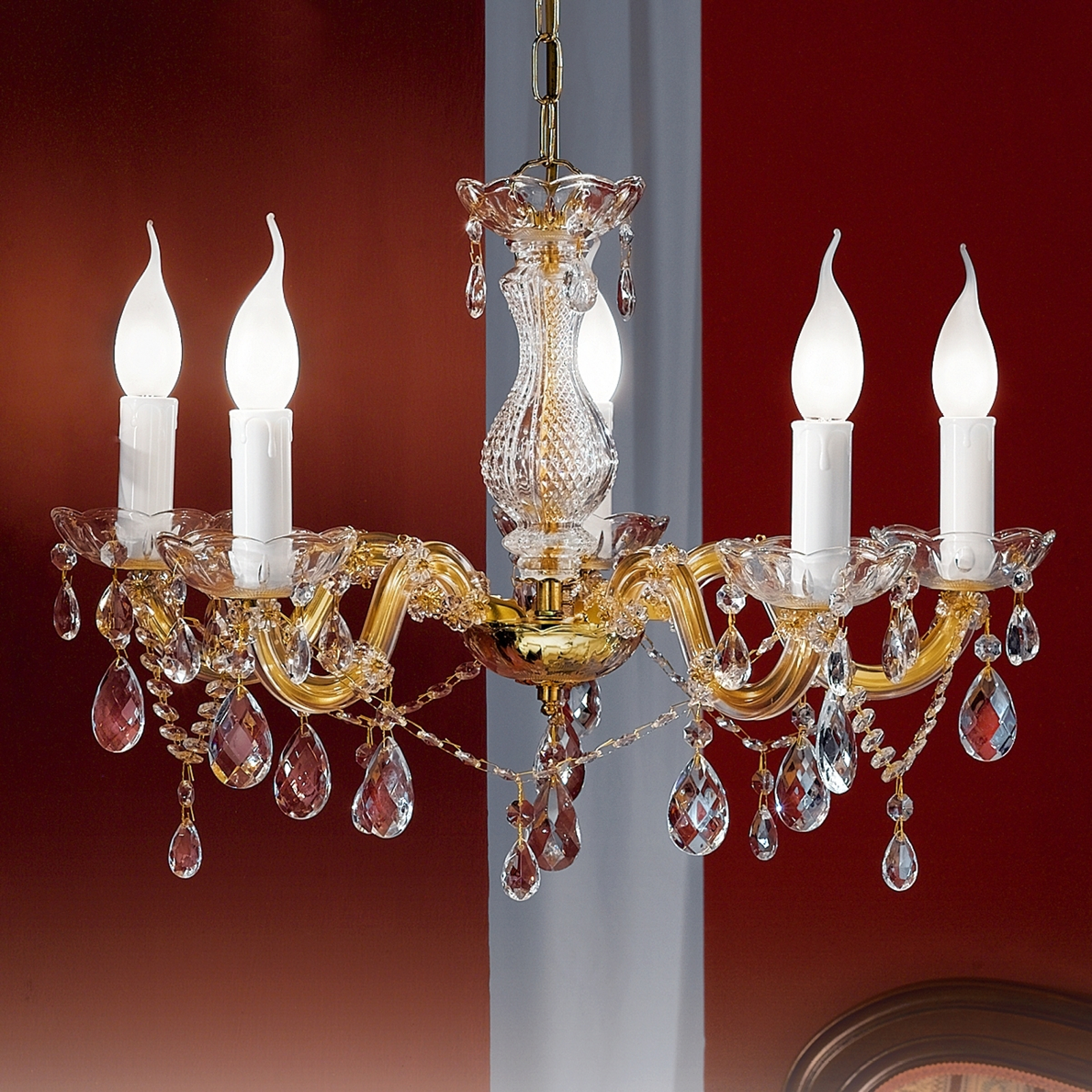 Ljuskrona Dolores med hängen, 5 lampor