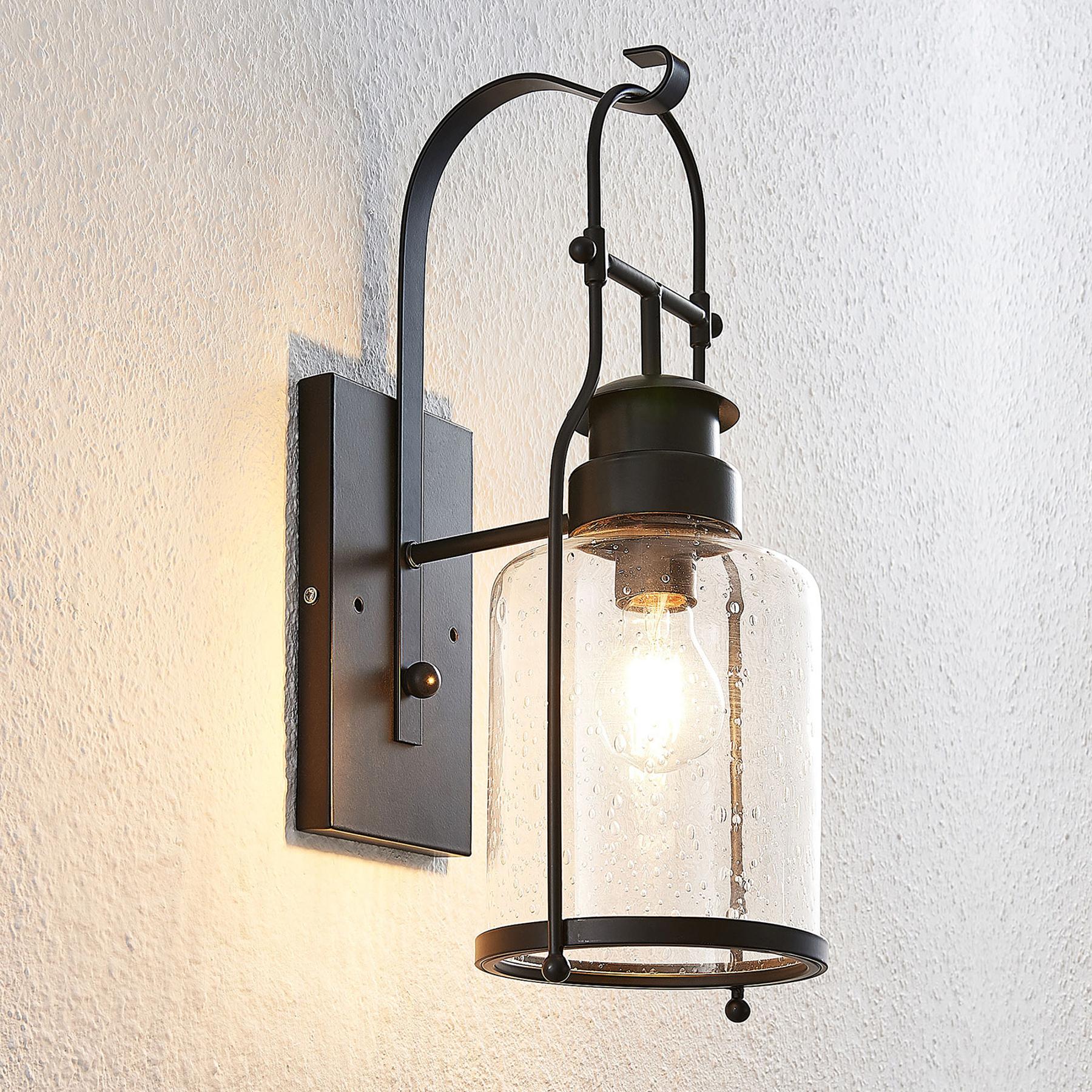 Lindby Rozalie lampa ścienna, latarnia, czarna