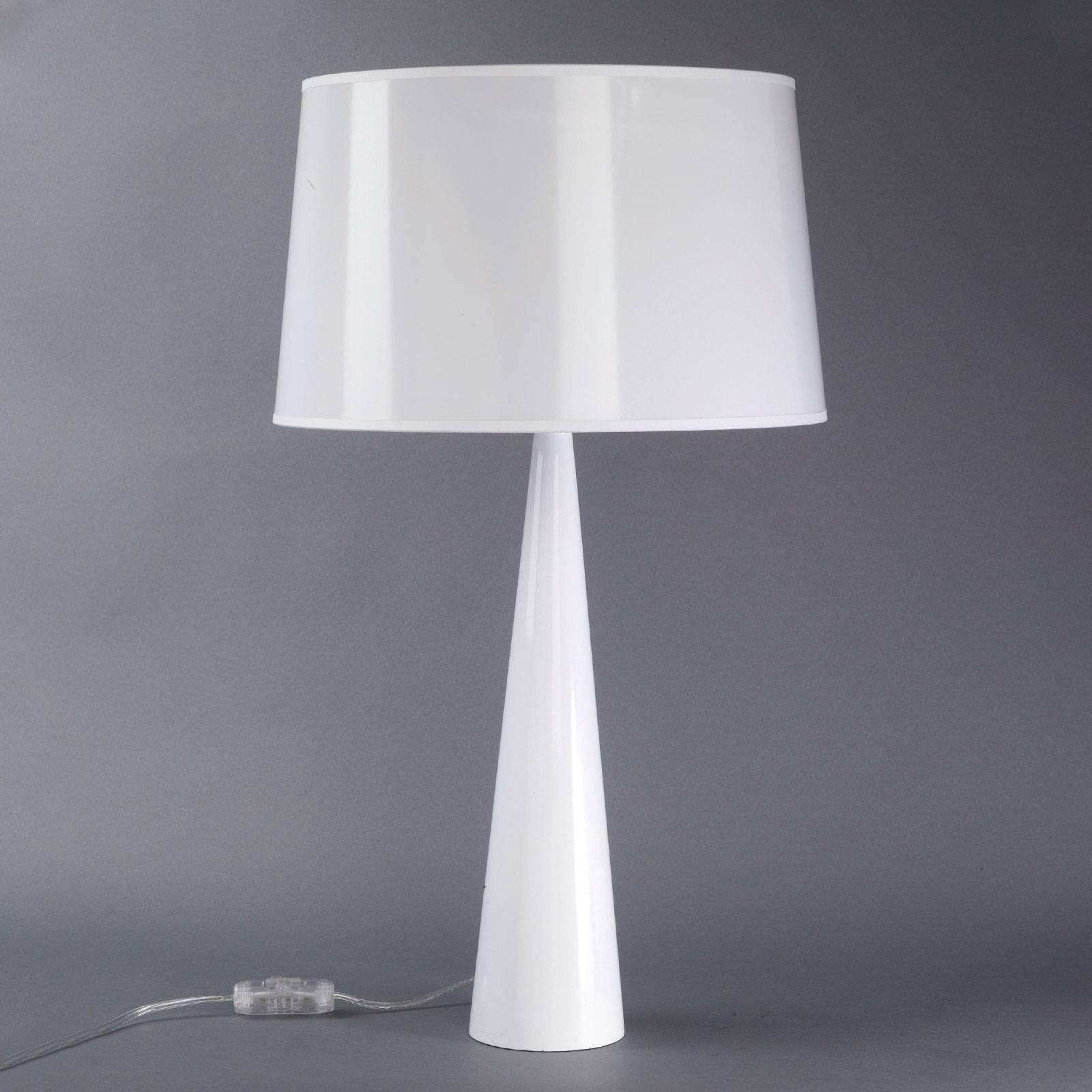 Lampe à poser Totem LT, pied métal, blanc brillant